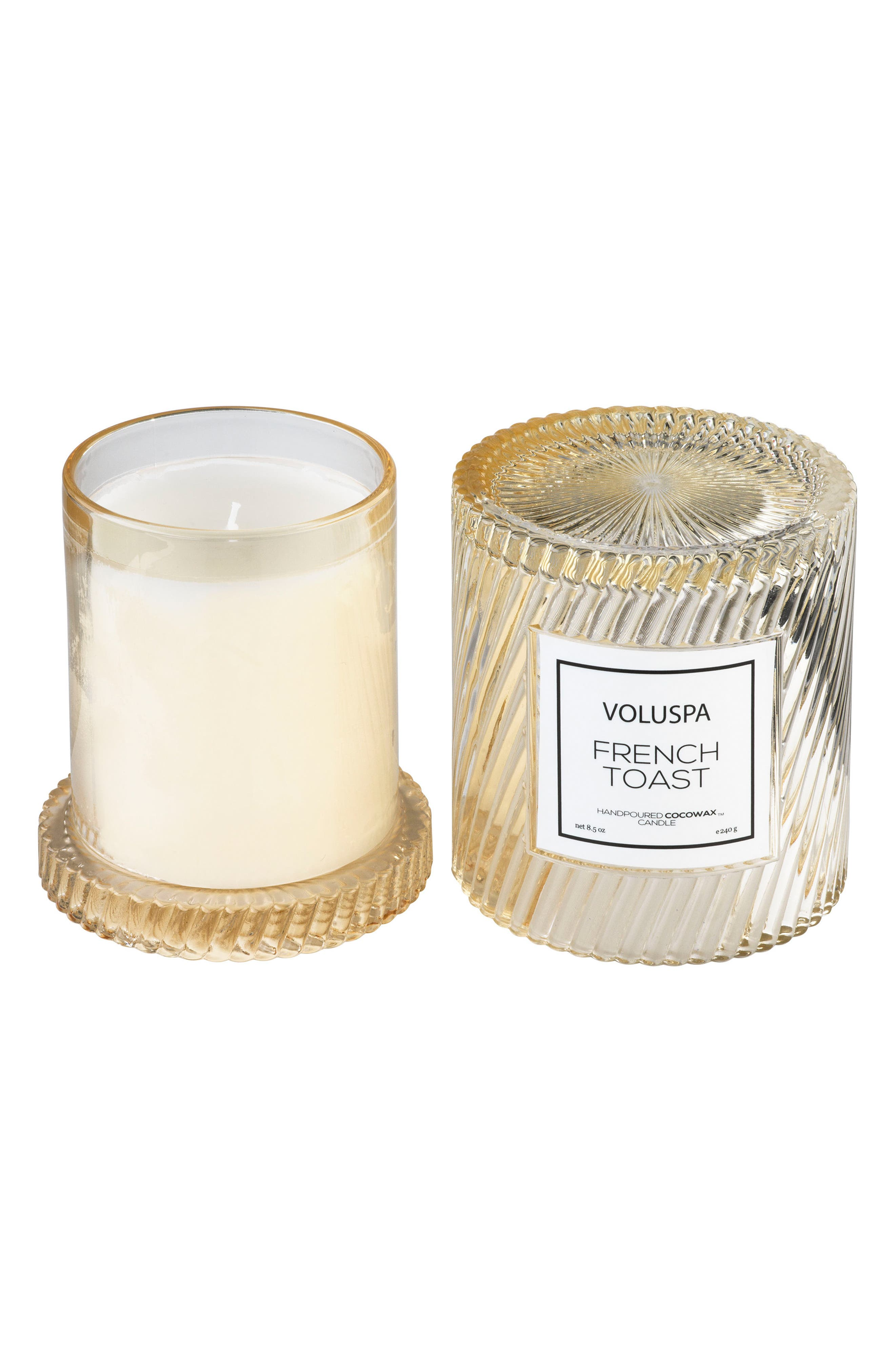 VOLUSPA, Macaron Icon Cloche Cover Candle, Alternate thumbnail 3, color, FRENCH TOAST