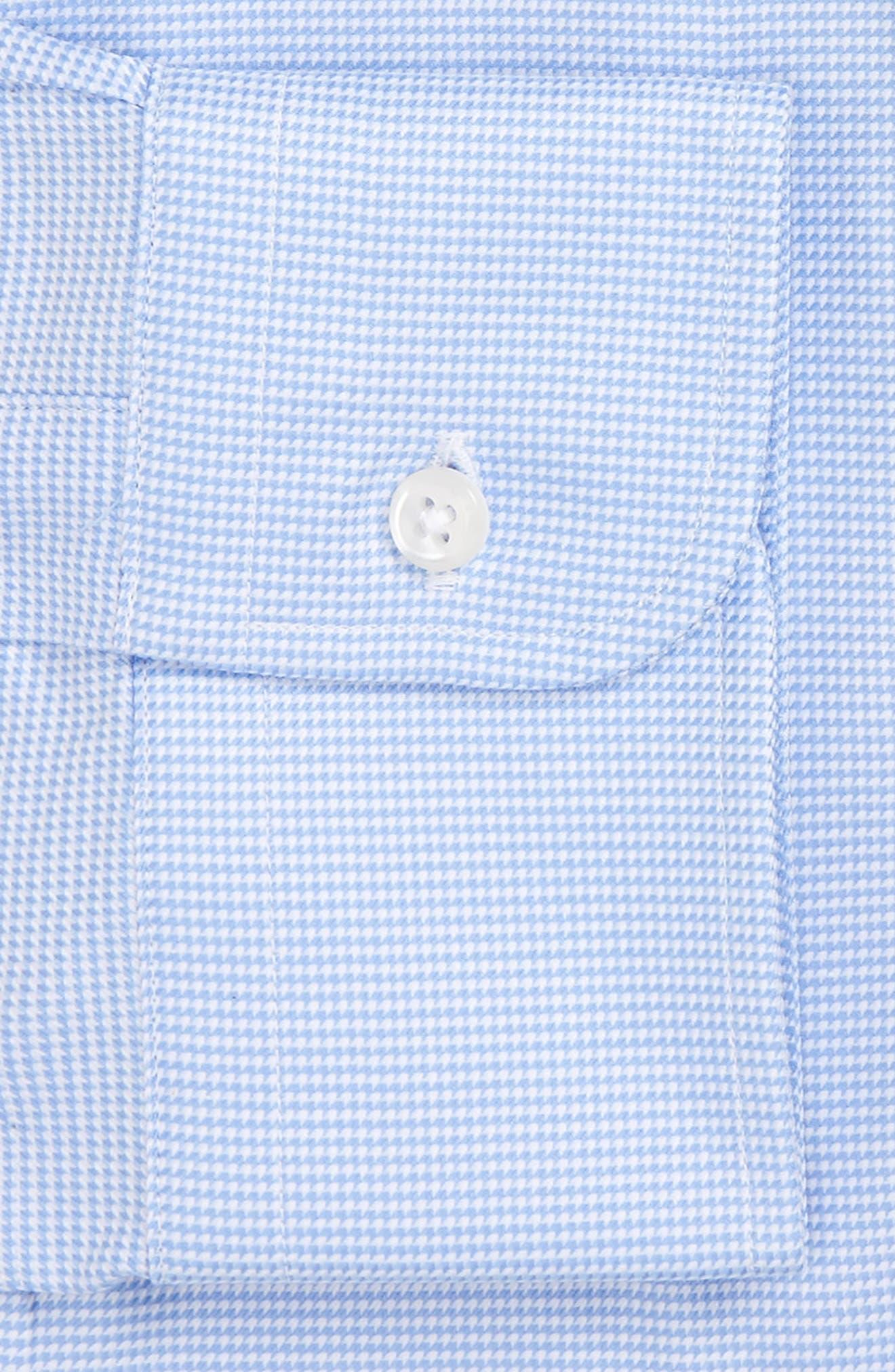 NORDSTROM MEN'S SHOP, Classic Fit Microgrid Dress Shirt, Alternate thumbnail 4, color, BLUE ROBIN