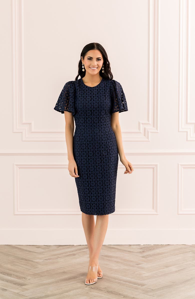 Rachel Parcell Flutter Sleeve Lace Sheath Dress (Nordstrom Exclusive) | Nordstrom