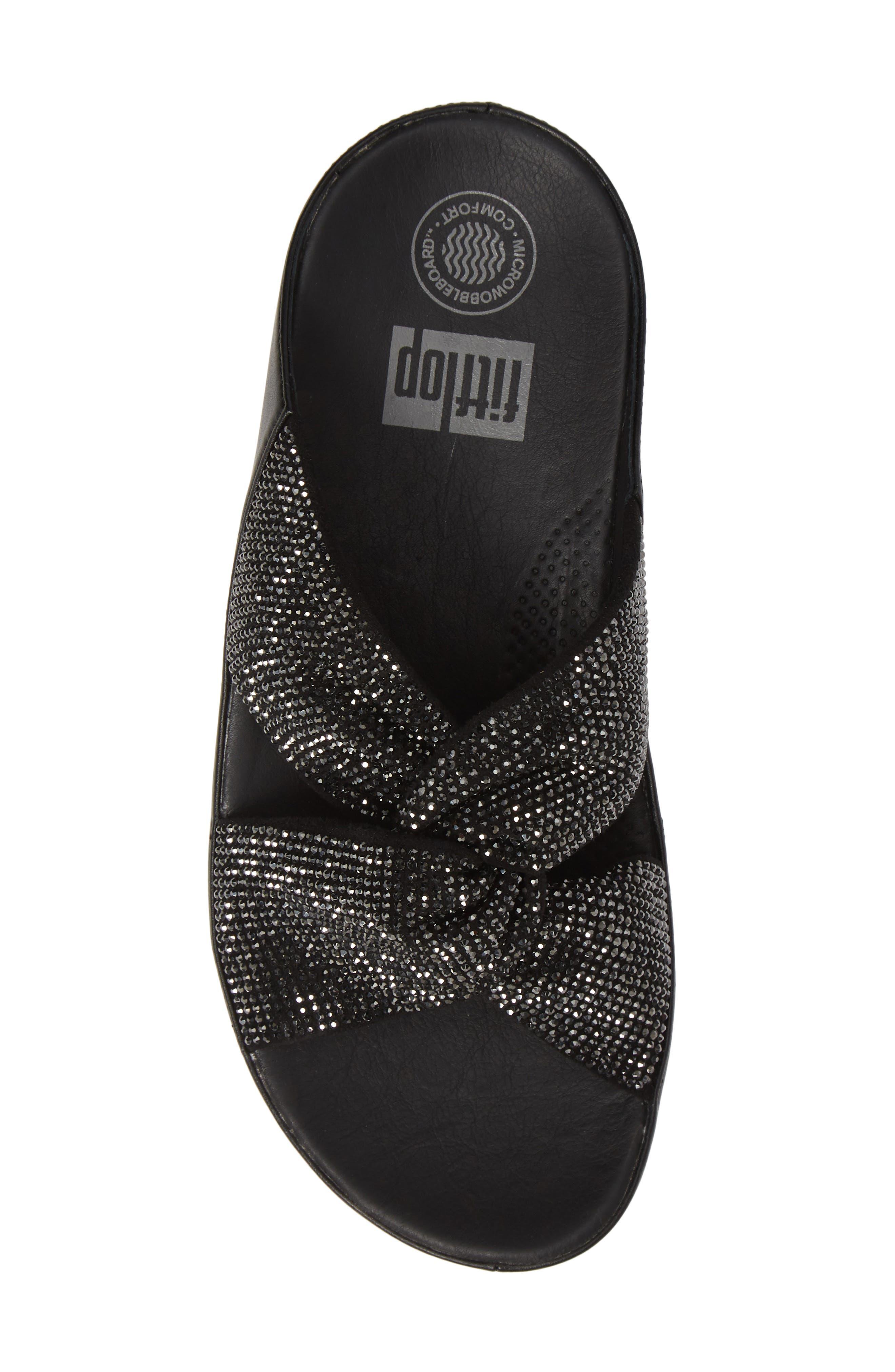 FITFLOP, Twiss Crystal Embellished Slide Sandal, Alternate thumbnail 5, color, BLACK FABRIC