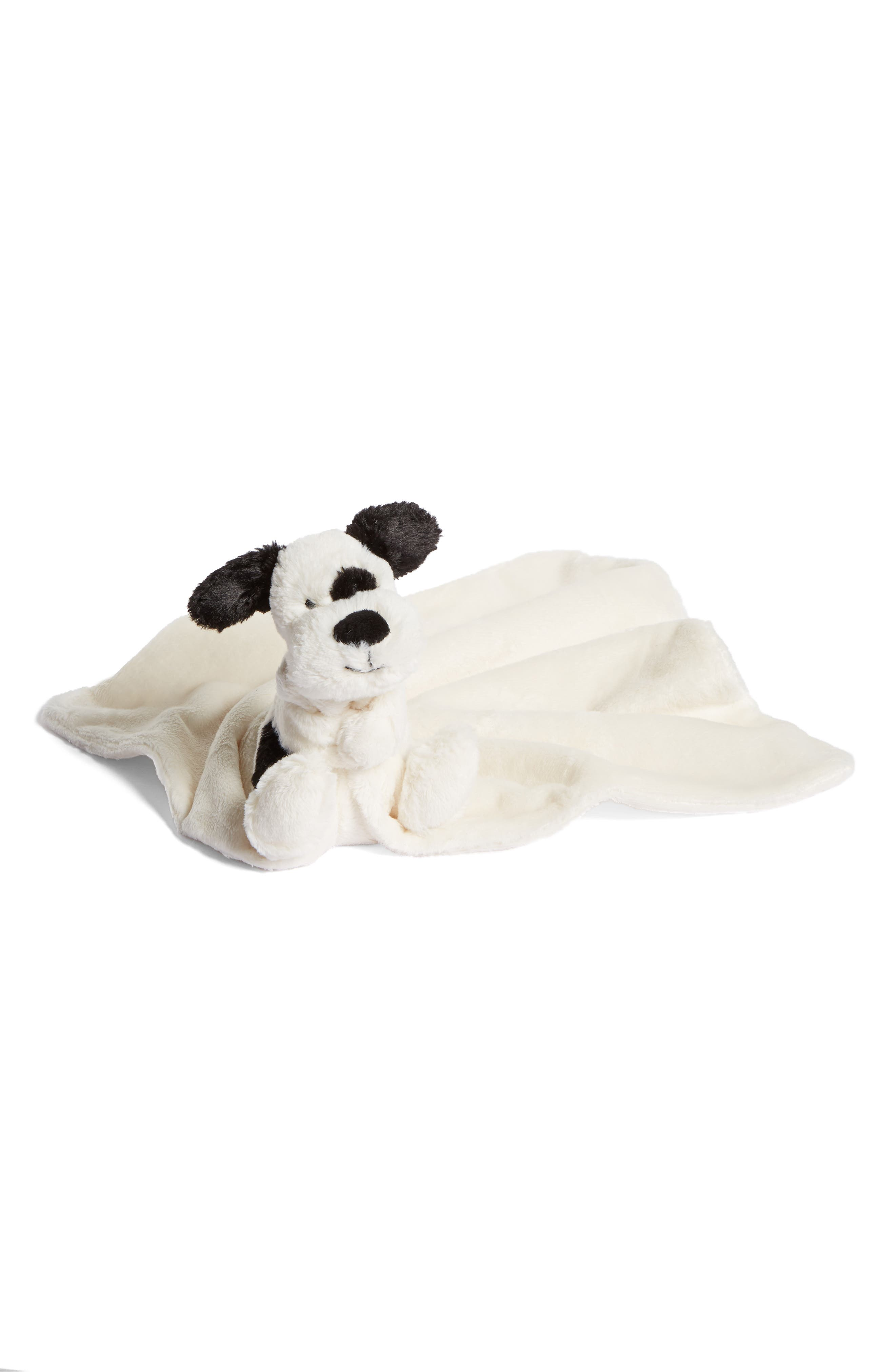 JELLYCAT, 'Dog Soother' Blanket, Main thumbnail 1, color, BLACK AND CREAM