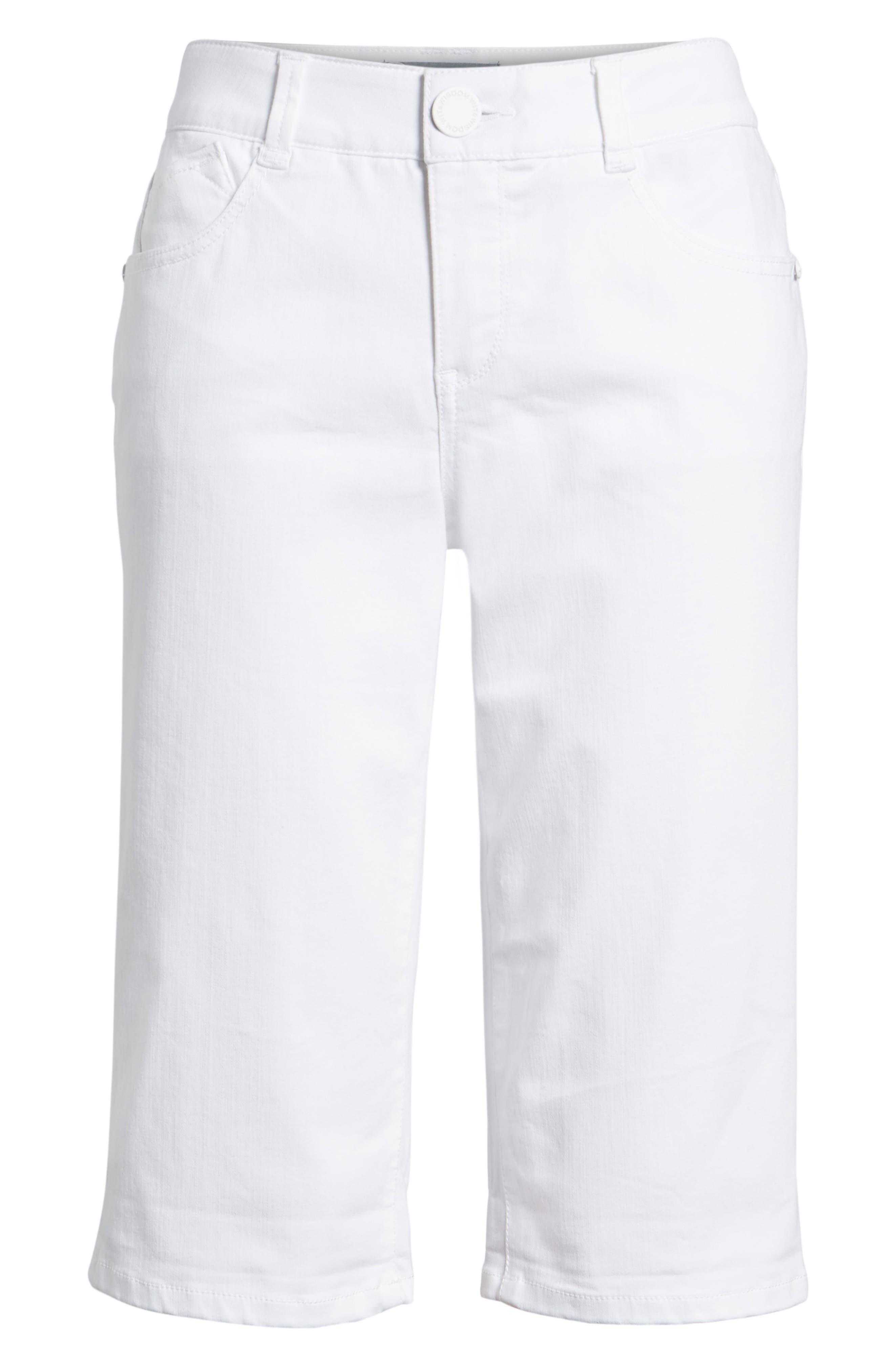 WIT & WISDOM, Ab-solution White Bermuda Shorts, Alternate thumbnail 7, color, OPTIC WHITE
