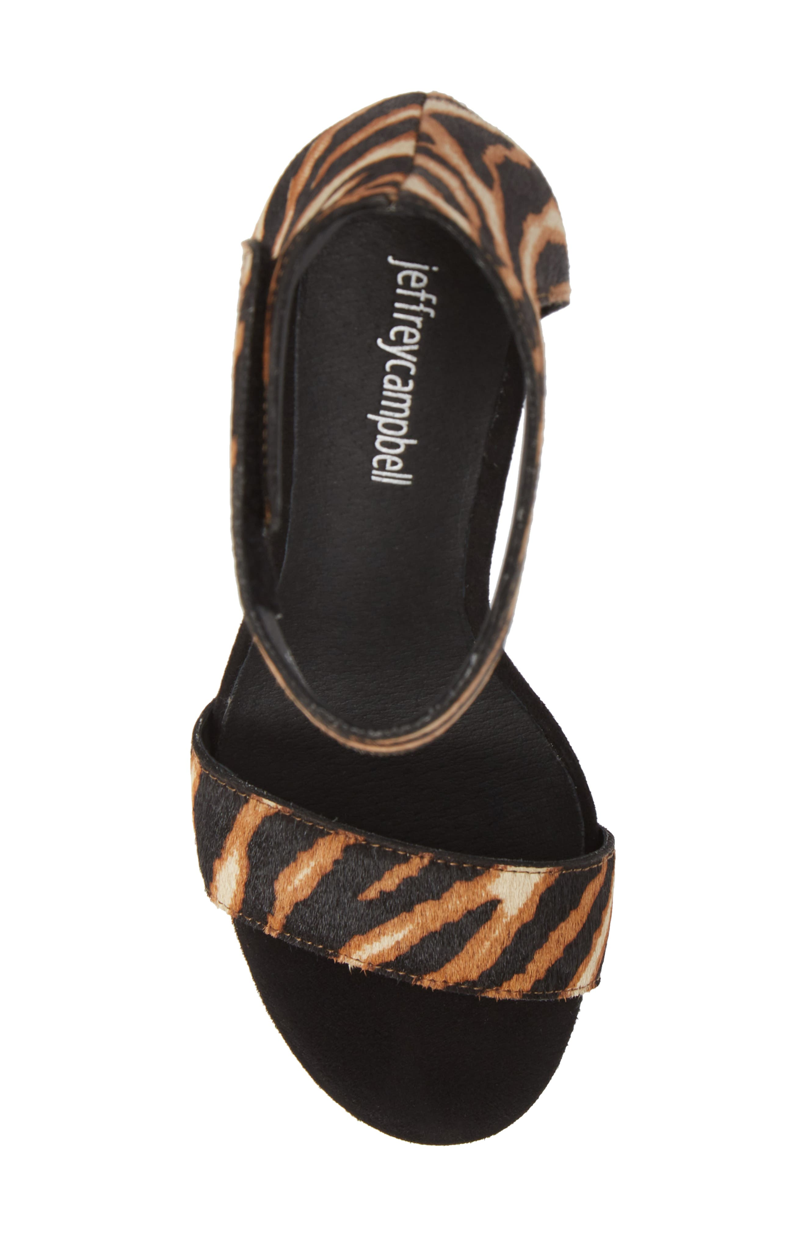 JEFFREY CAMPBELL, Lindsay Genuine Calf Hair Ankle Strap Sandal, Alternate thumbnail 5, color, BEIGE ZEBRA PRINT LEATHER
