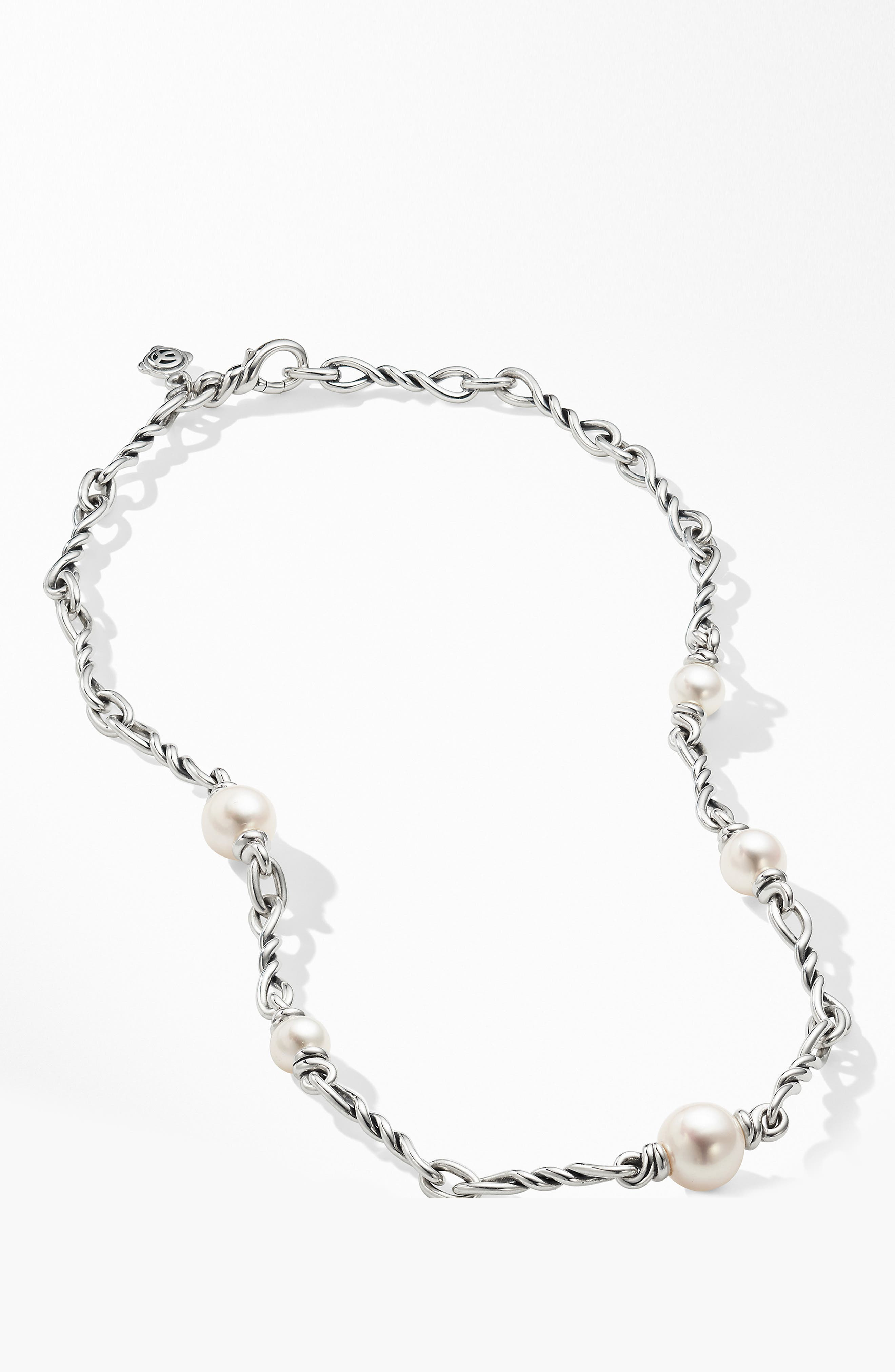 DAVID YURMAN, Continuance Pearl Small Chain Necklace, Alternate thumbnail 3, color, SILVER/ PEARL