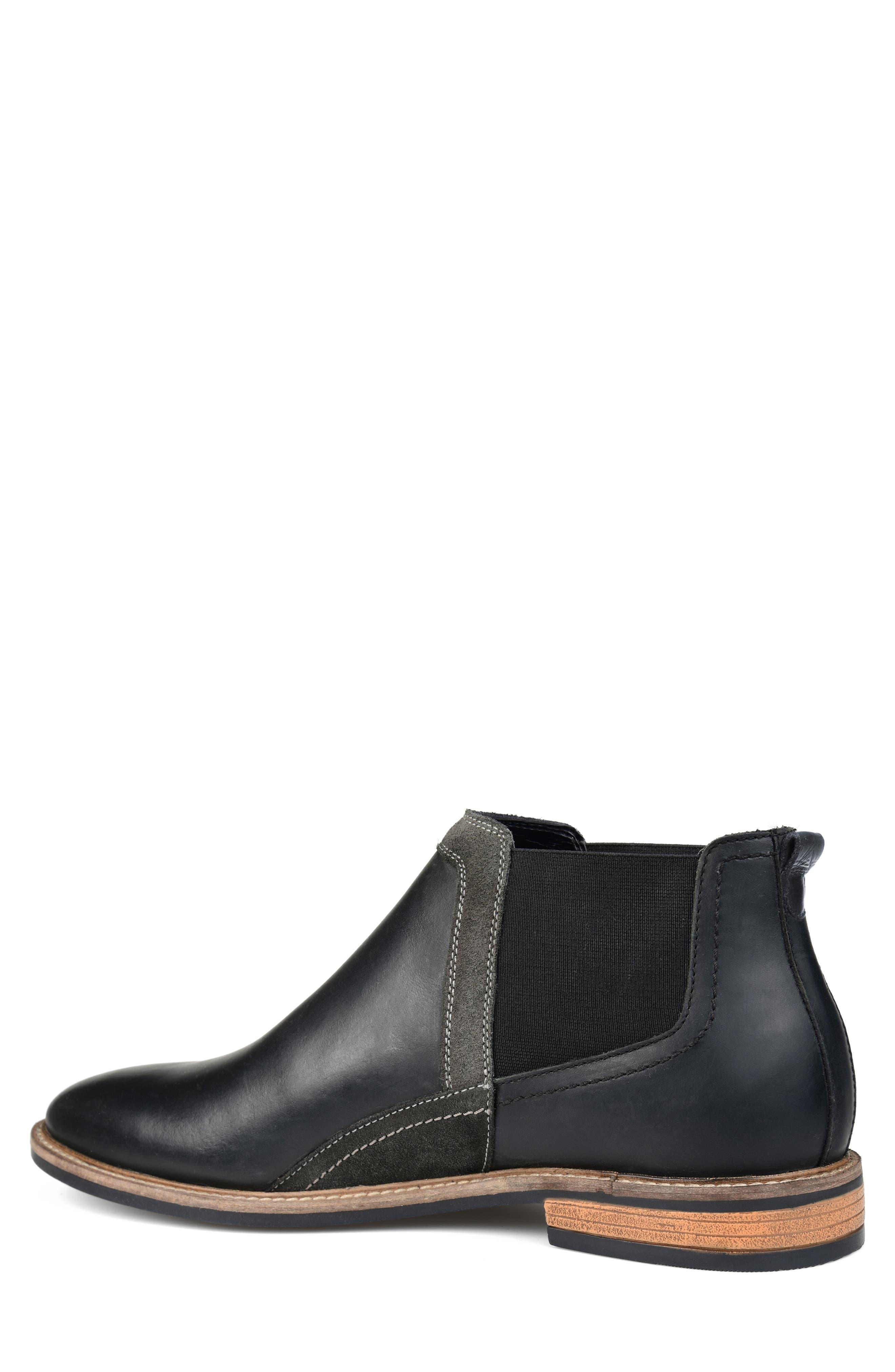 THOMAS AND VINE, Beckham Chelsea Boot, Alternate thumbnail 2, color, BLACK LEATHER