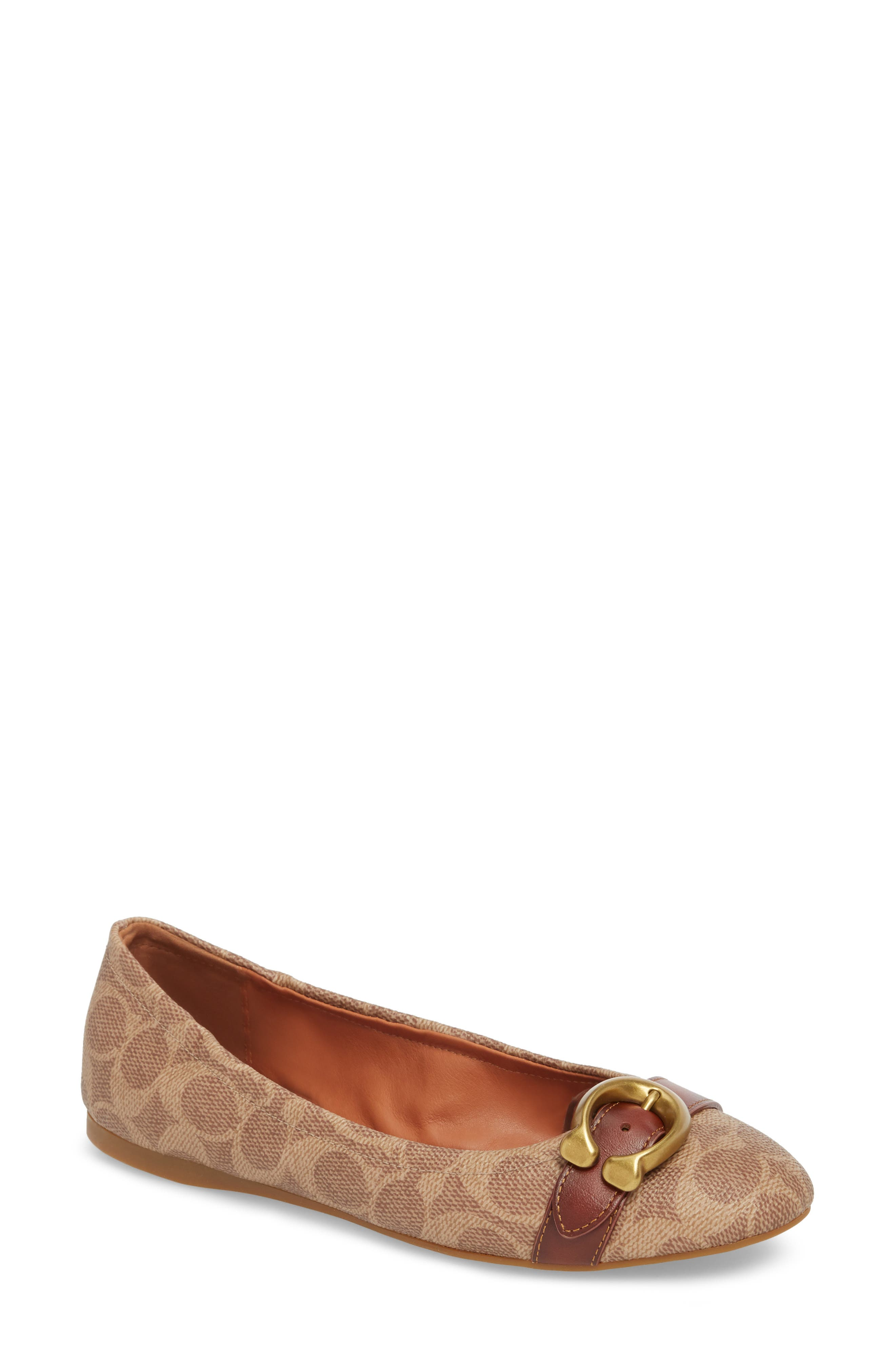 COACH Stanton Buckle Flat, Main, color, BROWN LEATHER