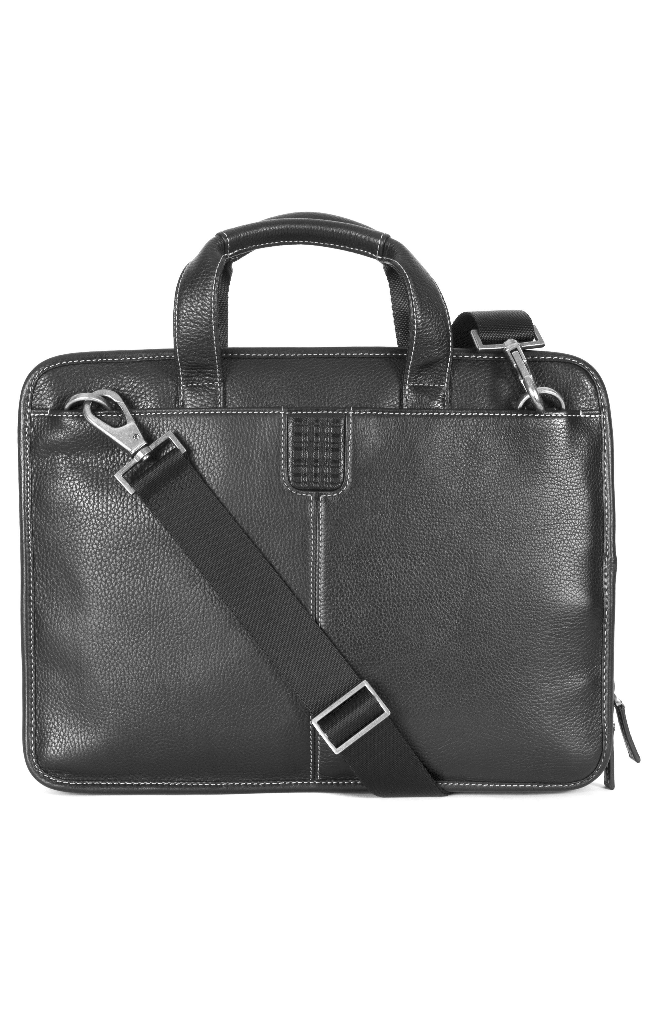 BOCONI, Tyler Leather Briefcase, Alternate thumbnail 2, color, BLACK