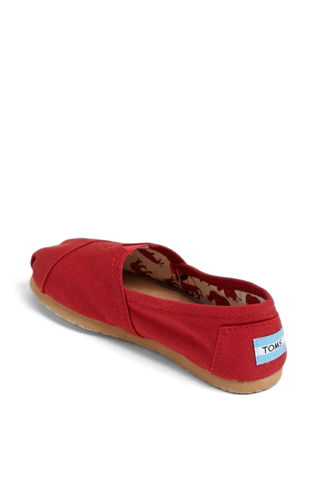 TOMS, Classic Canvas Slip-On, Alternate thumbnail 4, color, RED