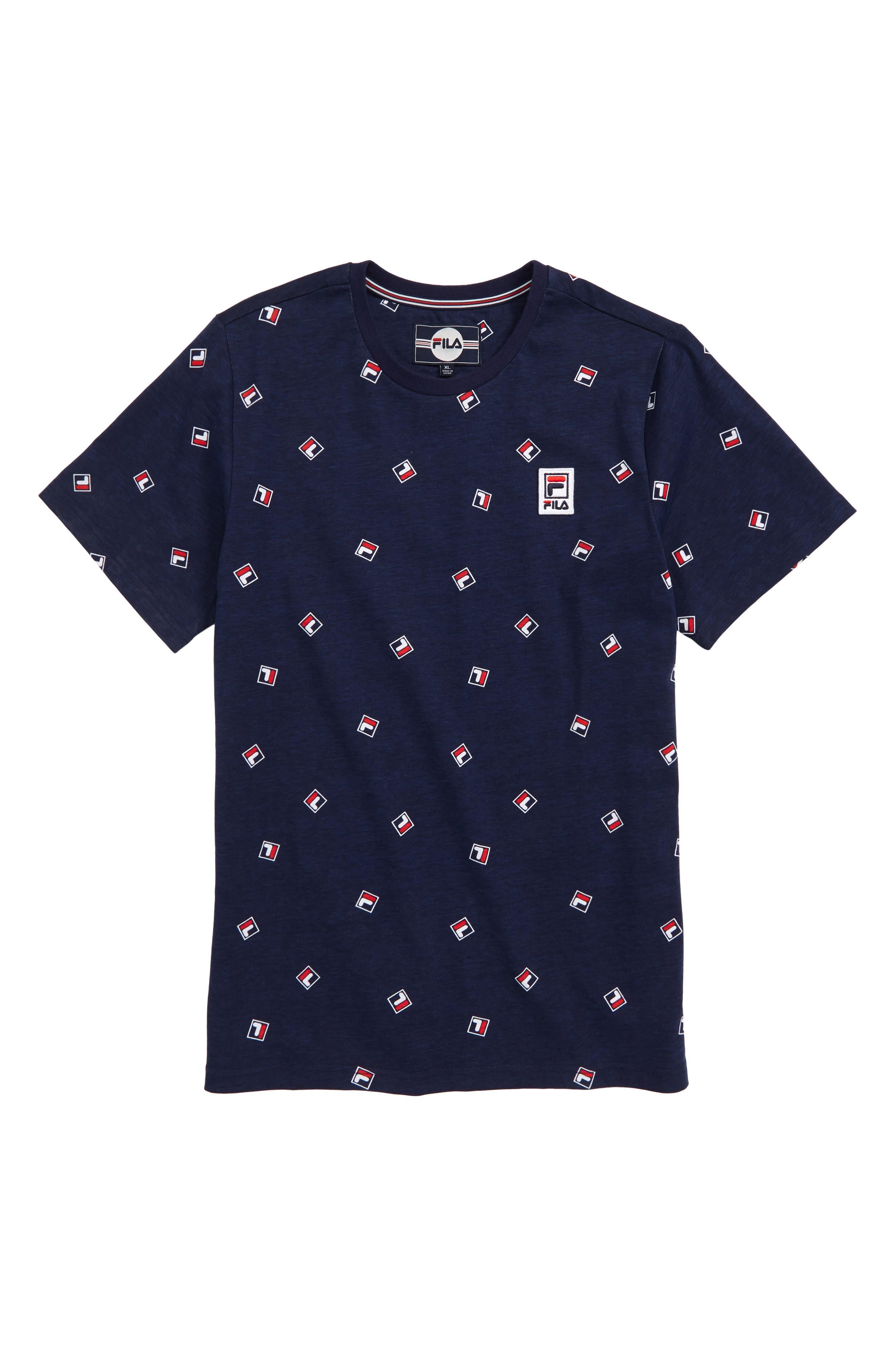 FILA, Logo Print T-Shirt, Main thumbnail 1, color, NAVY