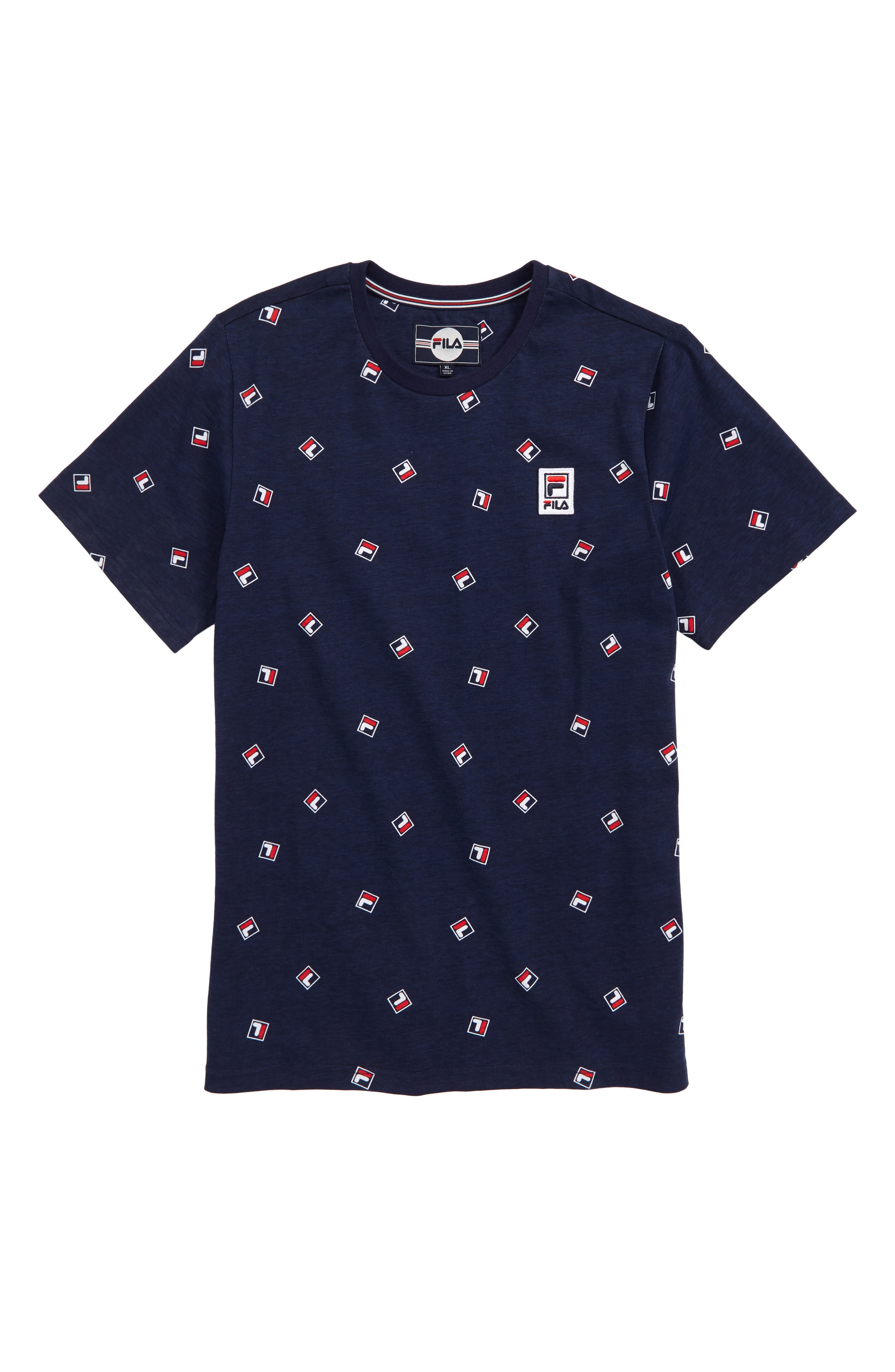 FILA Logo Print T-Shirt, Main, color, NAVY