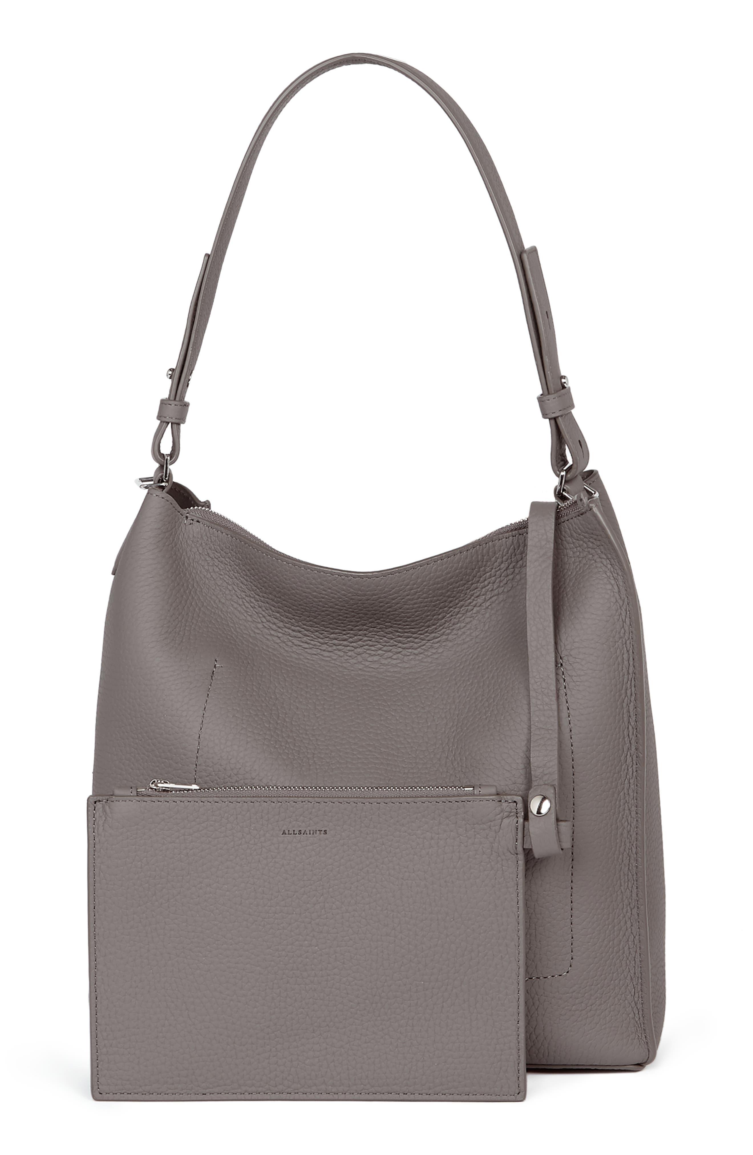 ALLSAINTS, 'Kita' Leather Shoulder/Crossbody Bag, Alternate thumbnail 2, color, STORM GREY