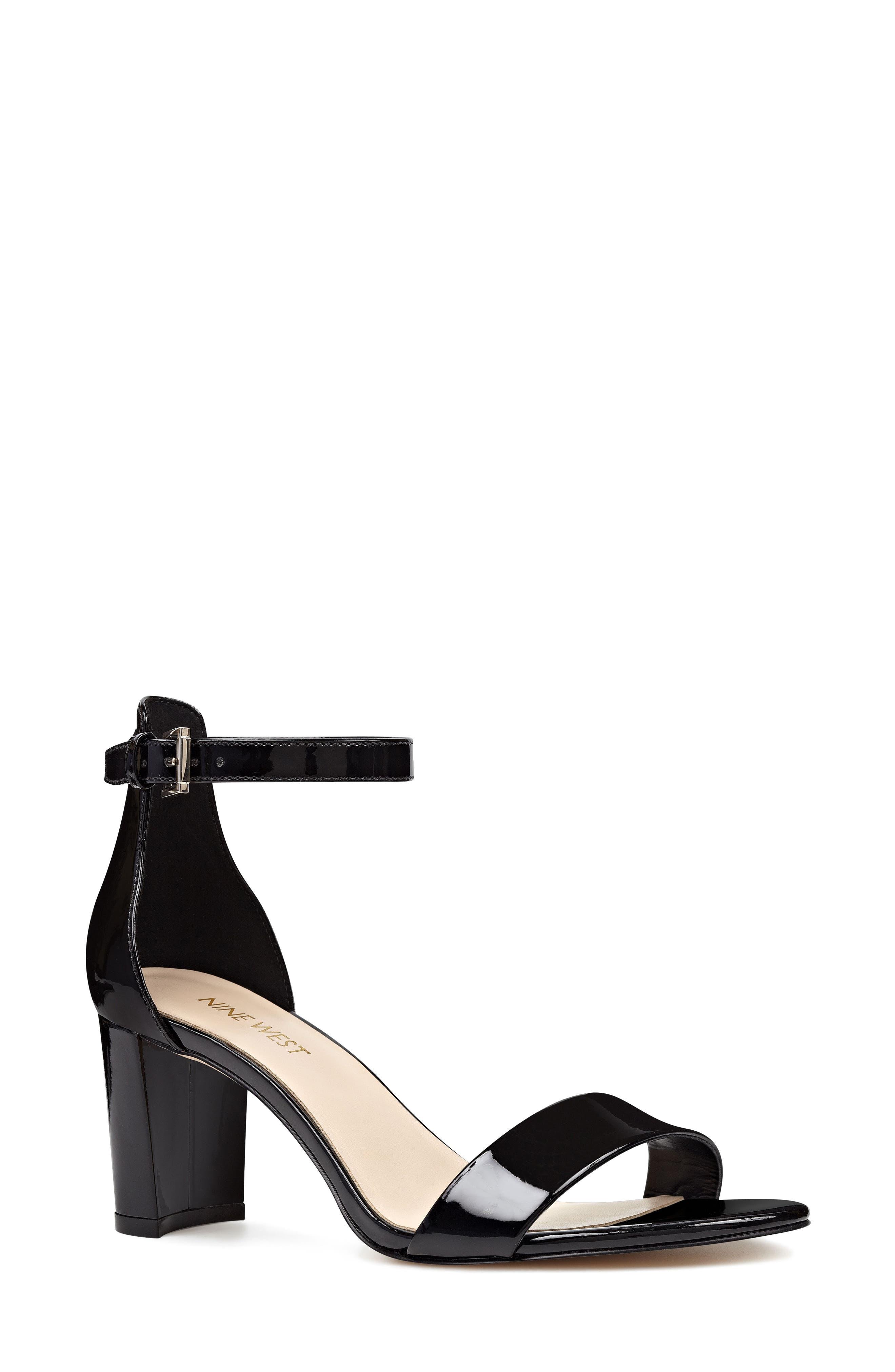 NINE WEST, Pruce Ankle Strap Sandal, Main thumbnail 1, color, BLACK PATENT