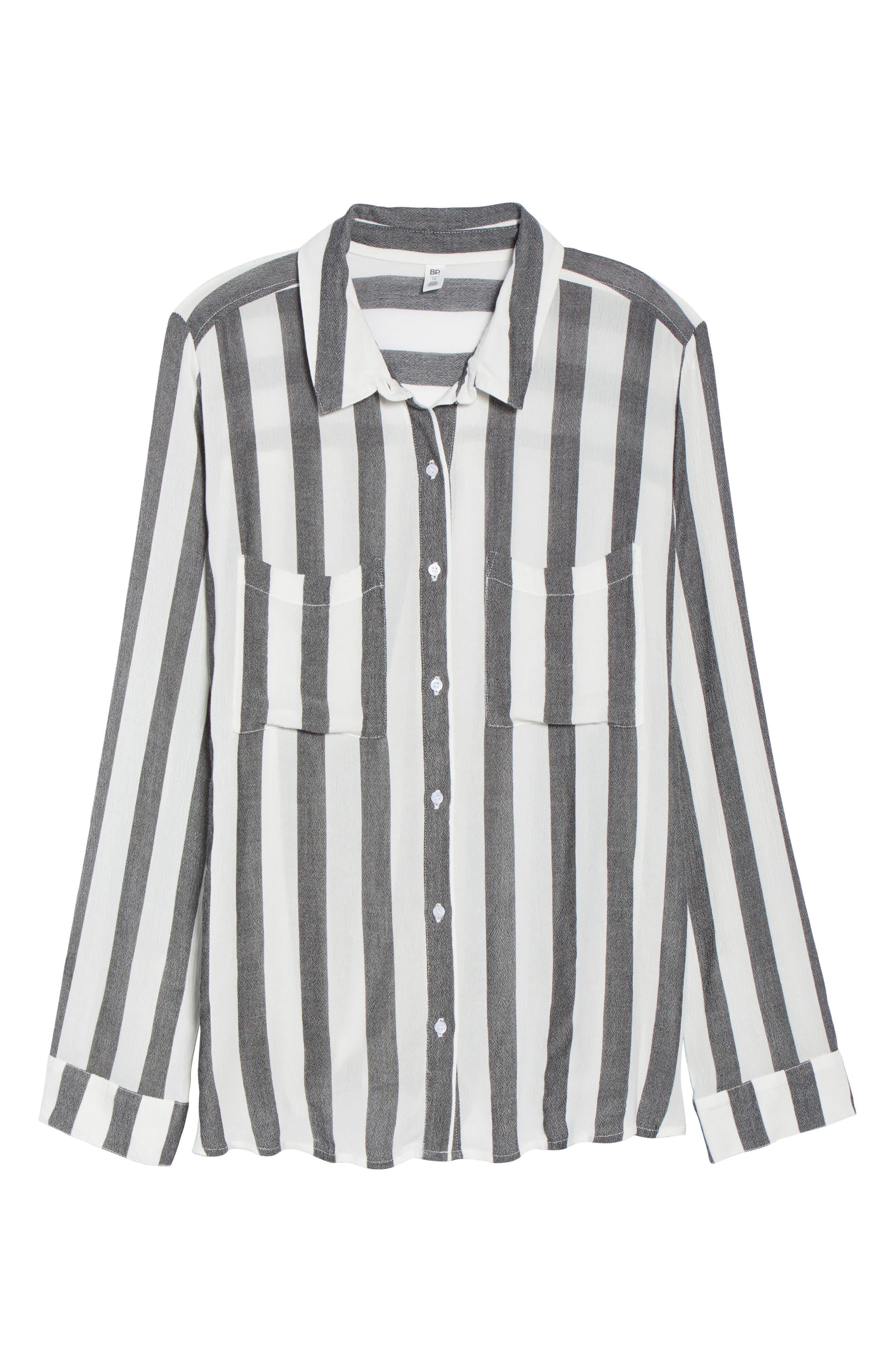 BP., Perfect Stripe Shirt, Alternate thumbnail 6, color, 001