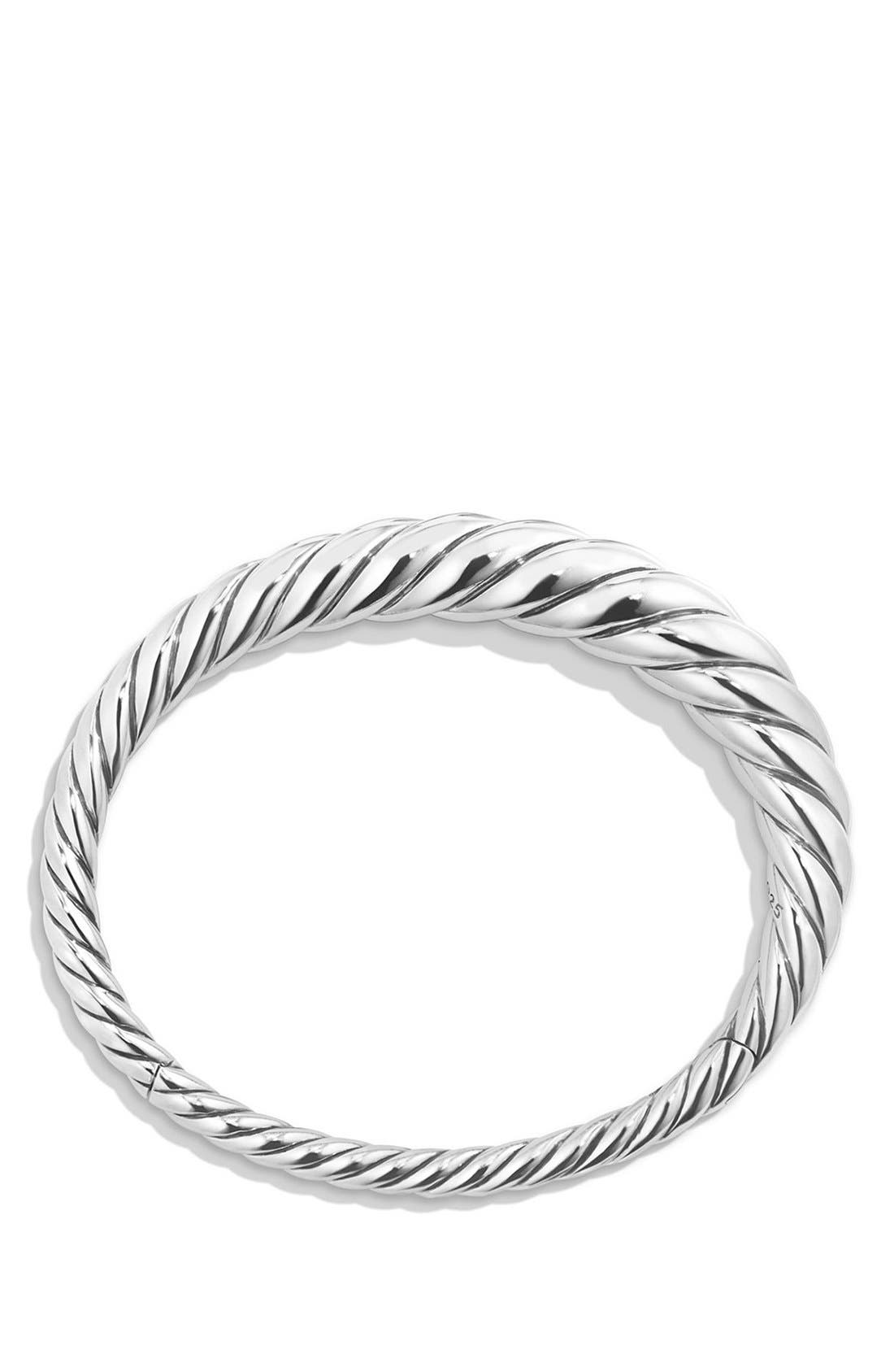 DAVID YURMAN, 'Pure Form' Small Cable Bracelet, Alternate thumbnail 2, color, SILVER
