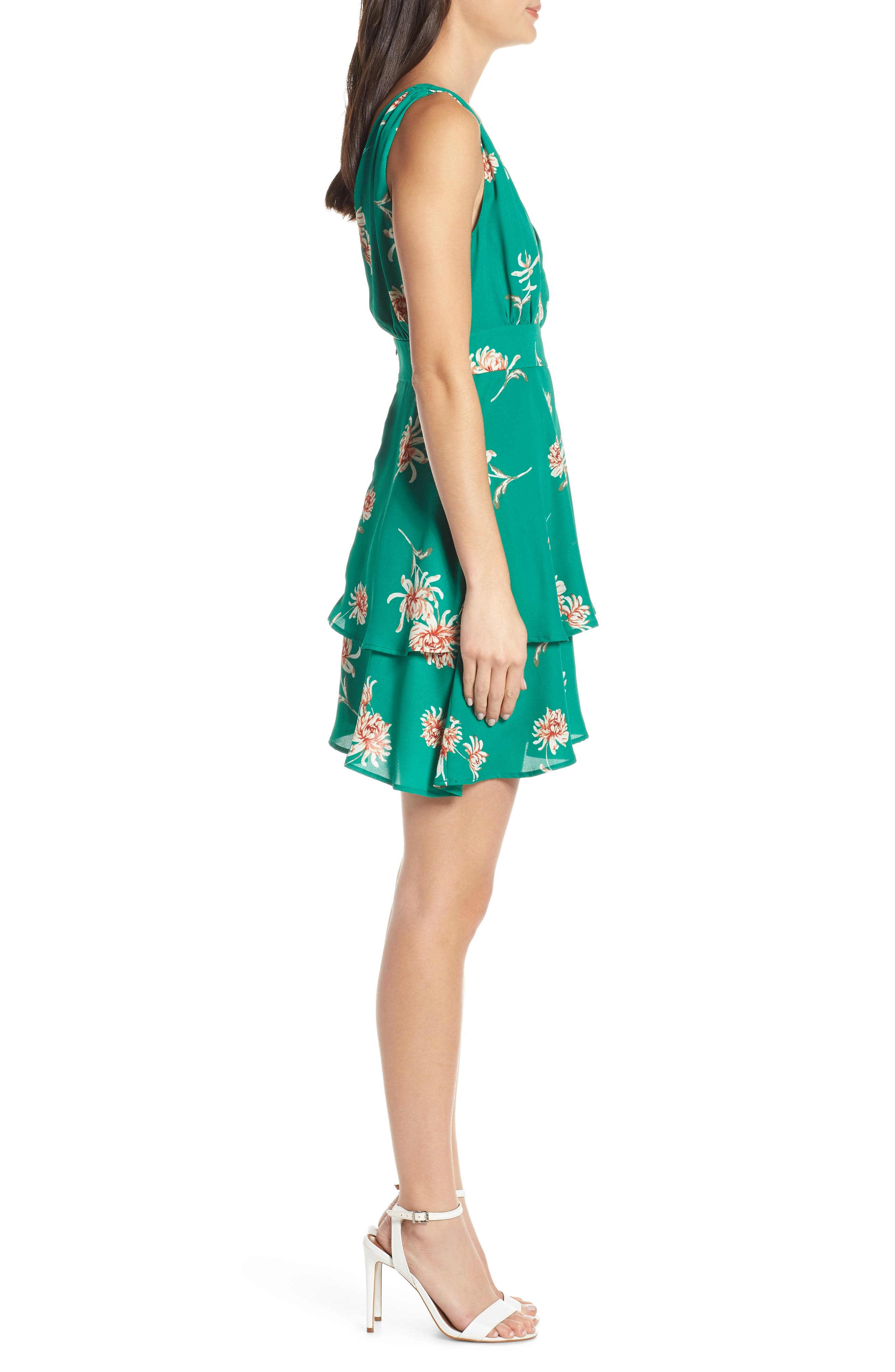 BB DAKOTA, Garden Strolls Blossom Party Minidress, Alternate thumbnail 4, color, PEPPER GREEN