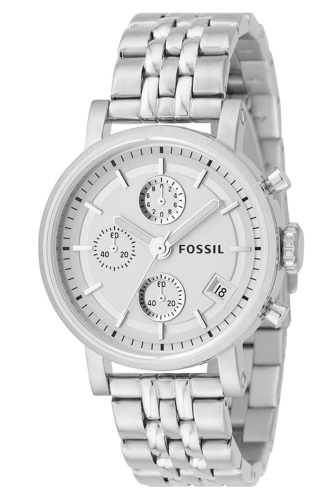 FOSSIL 'Original Boyfriend' Chronograph Bracelet Watch, 38mm, Main, color, 040