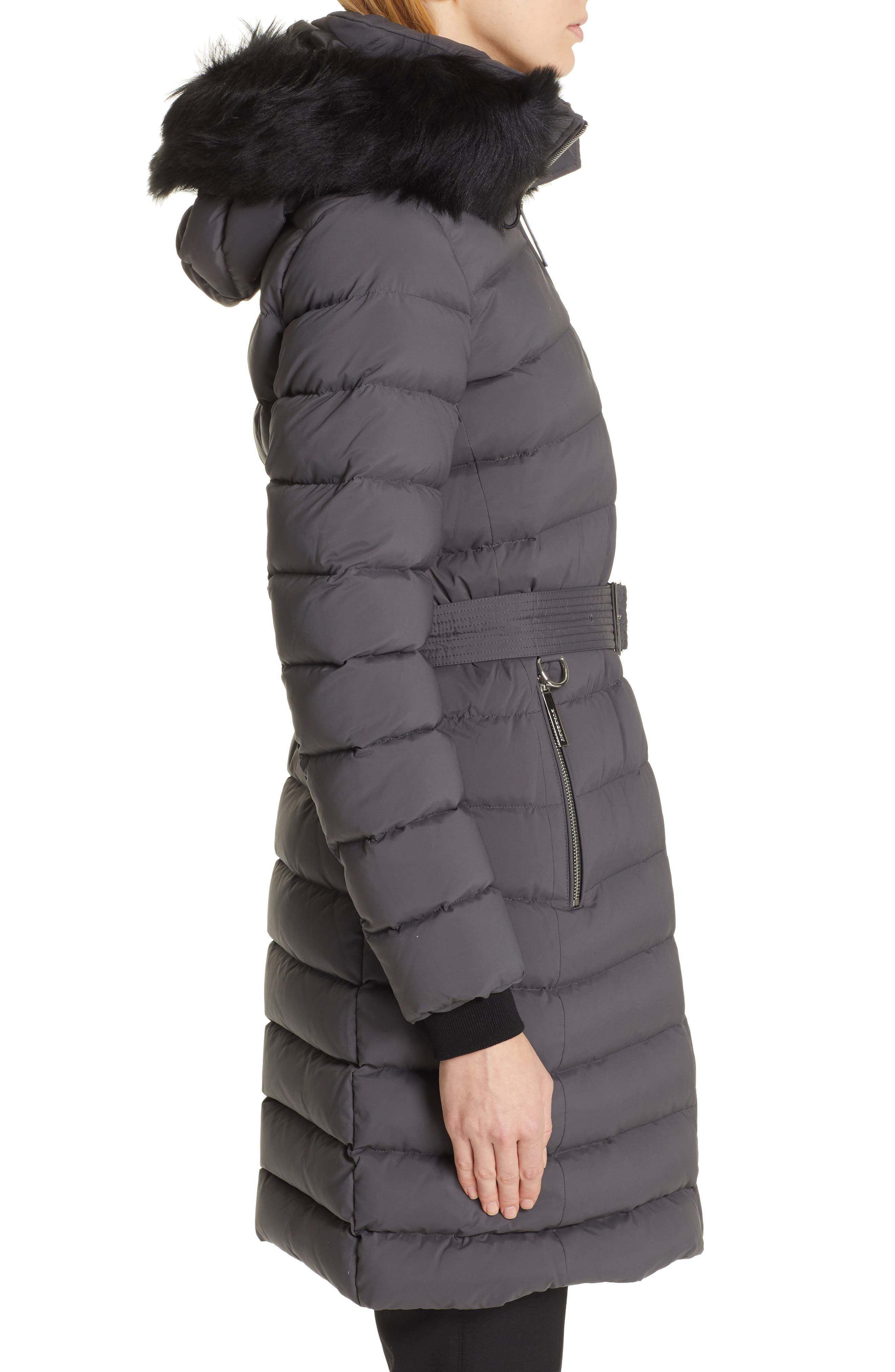 BURBERRY, Limehouse Quilted Down Puffer Coat with Removable Genuine Shearling Trim, Alternate thumbnail 5, color, MID GREY