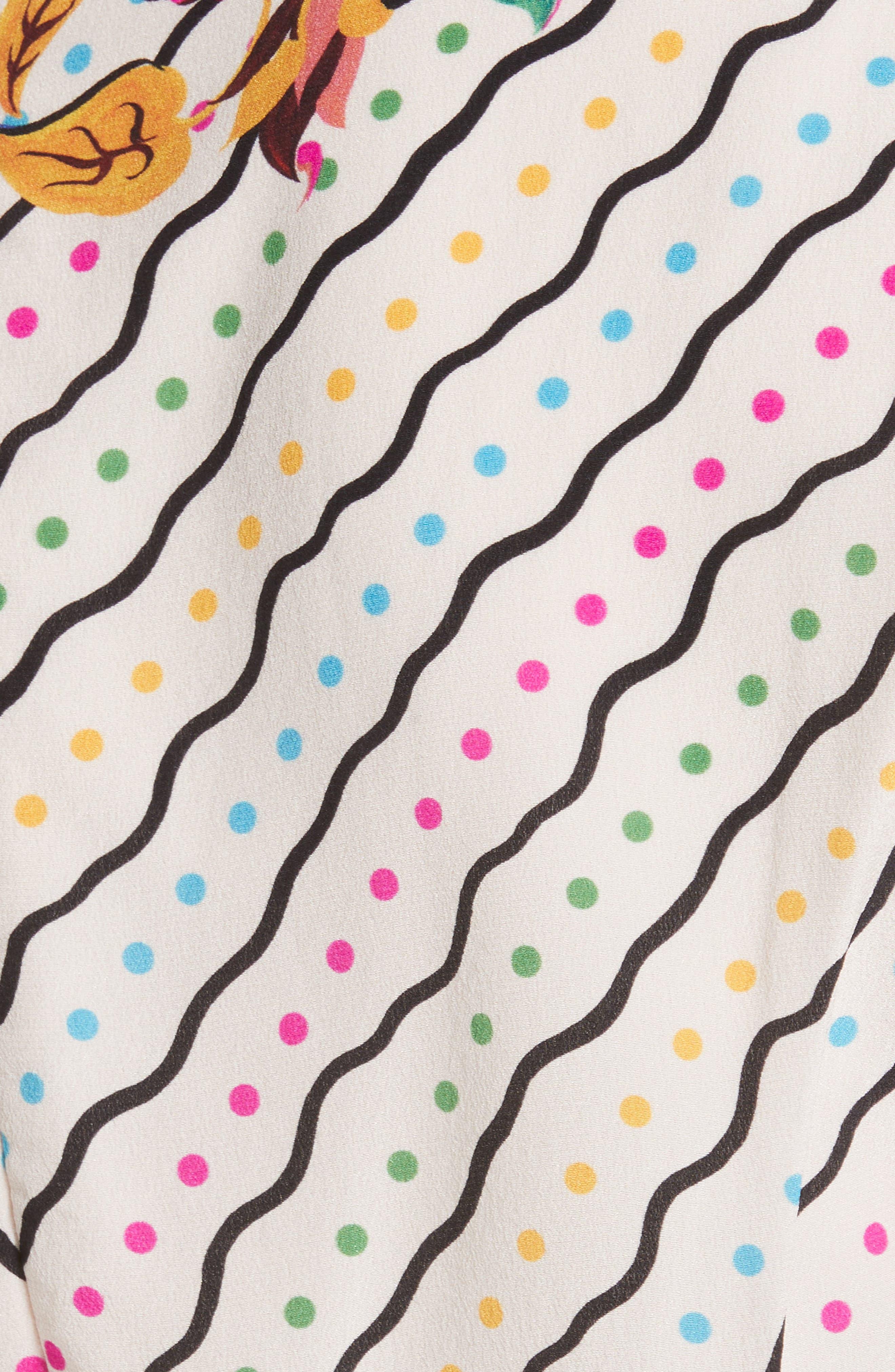 SALONI, Lea Silk Midi Dress, Alternate thumbnail 6, color, JAPONICA WIGGLE PLACEMENT