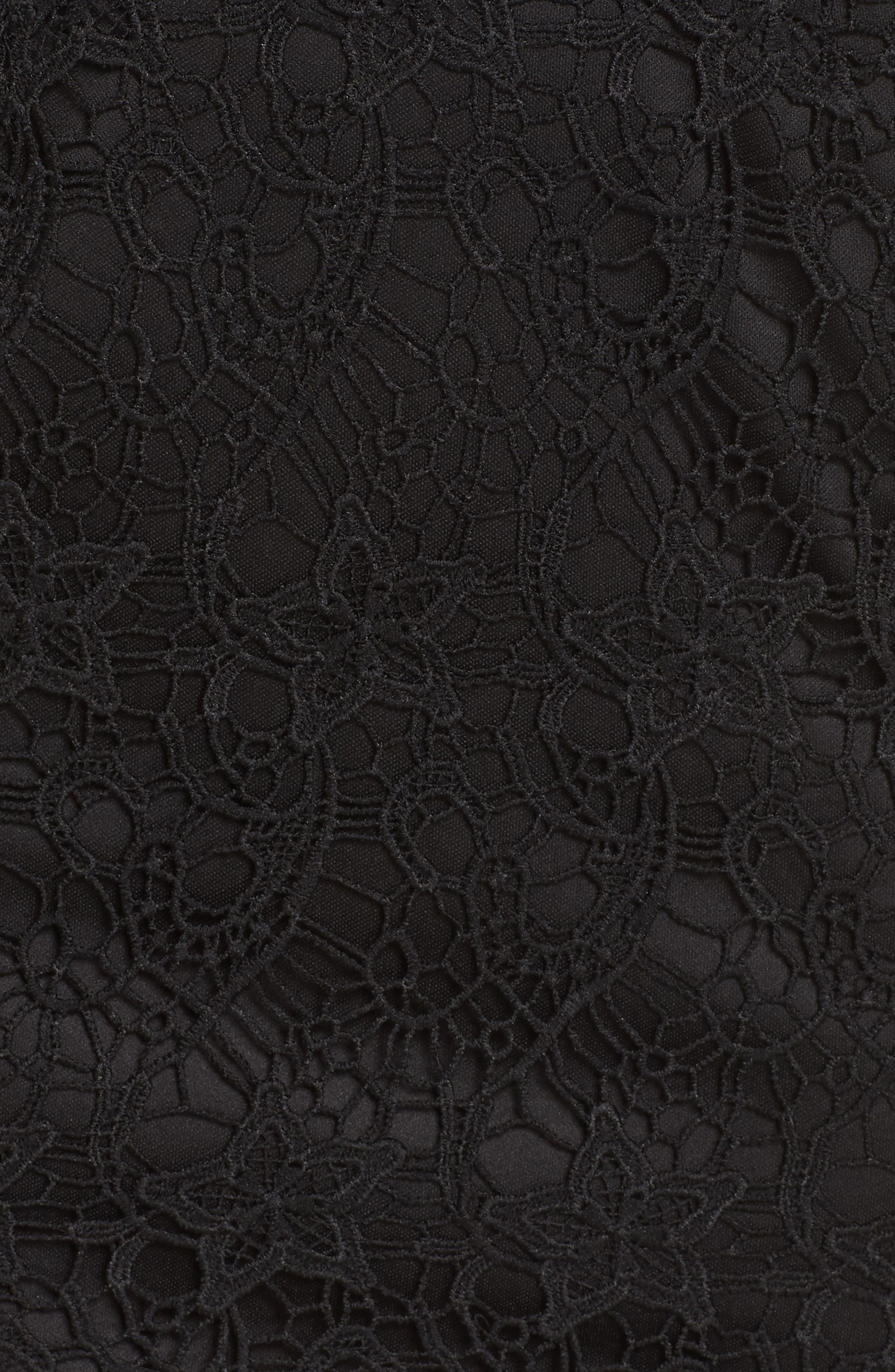 LULUS, Lace Cocktail Dress, Alternate thumbnail 6, color, BLACK