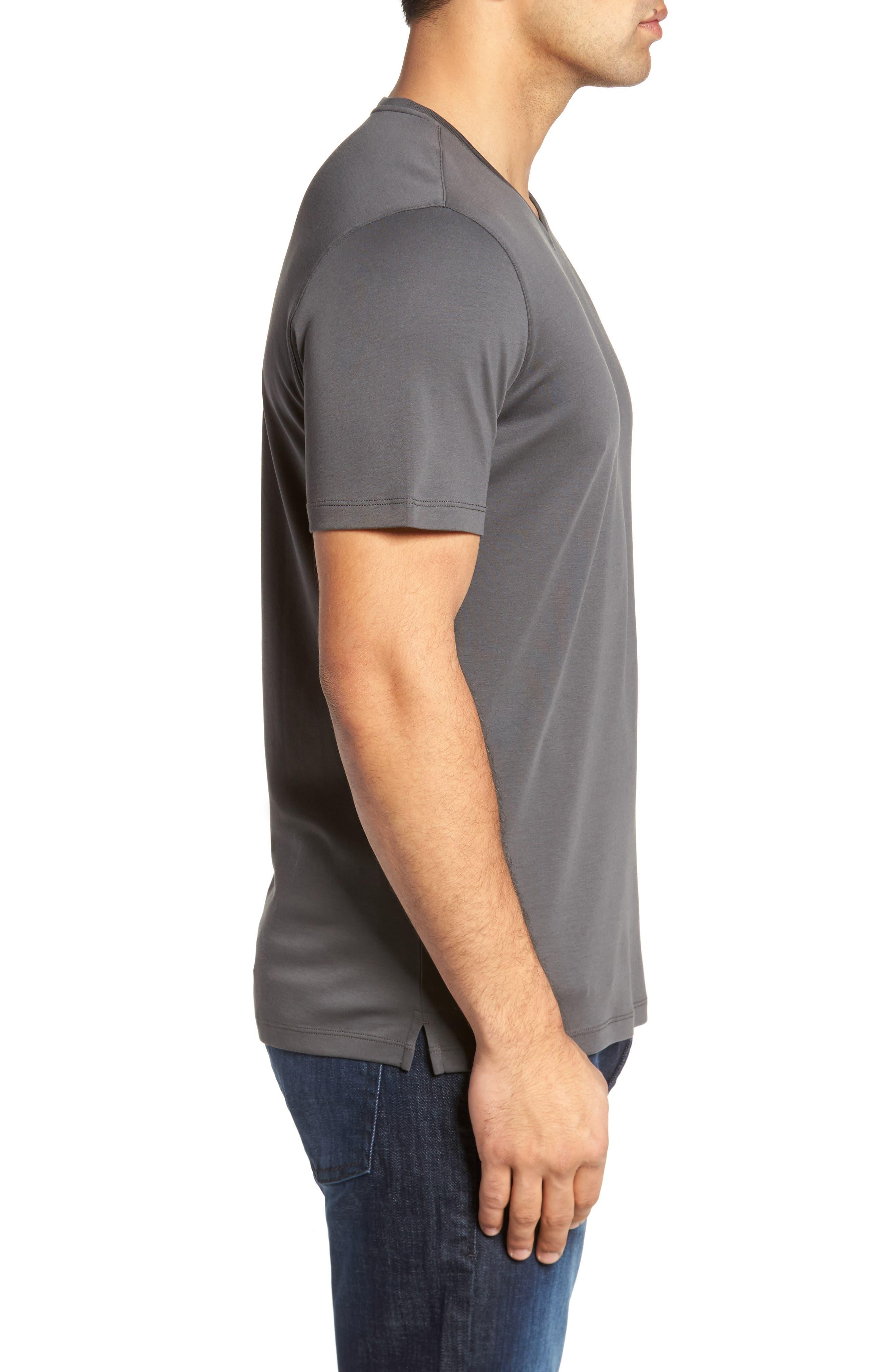ROBERT BARAKETT, Georgia Regular Fit V-Neck T-Shirt, Alternate thumbnail 3, color, IRON