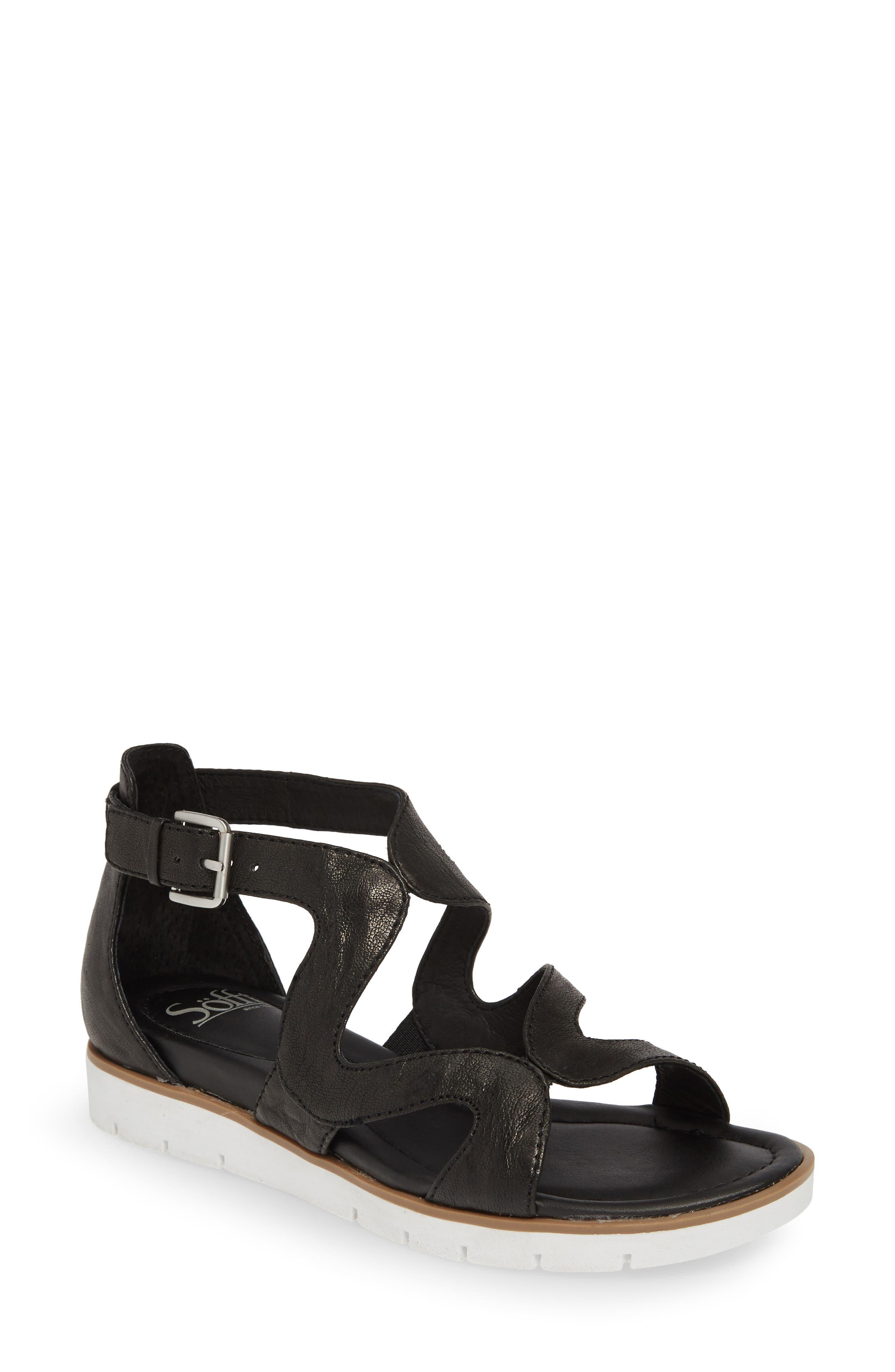SÖFFT 'Malana' Leather Sandal, Main, color, BLACK LEATHER