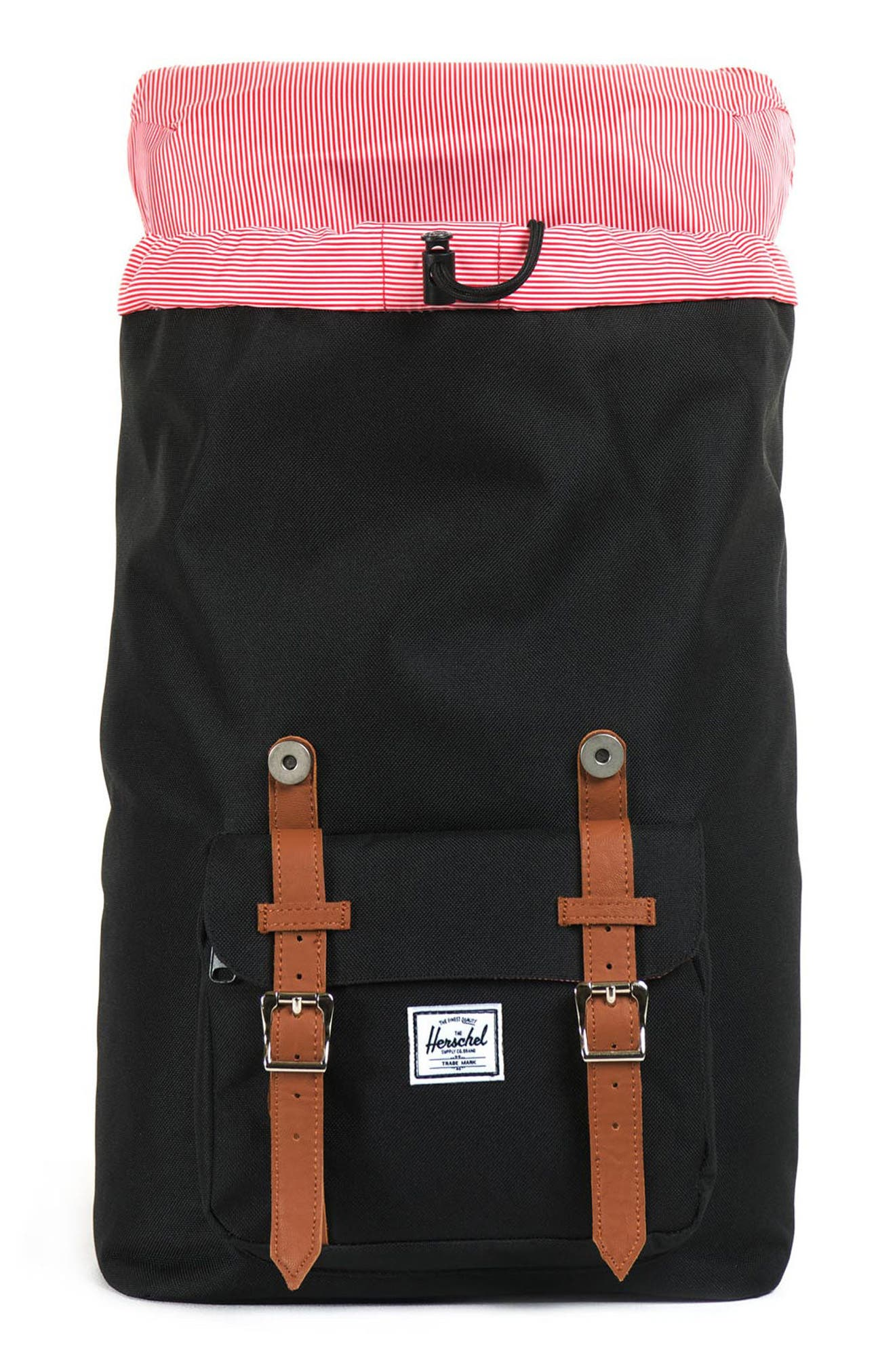 HERSCHEL SUPPLY CO., Little America - Mid Volume Backpack, Alternate thumbnail 4, color, BLACK