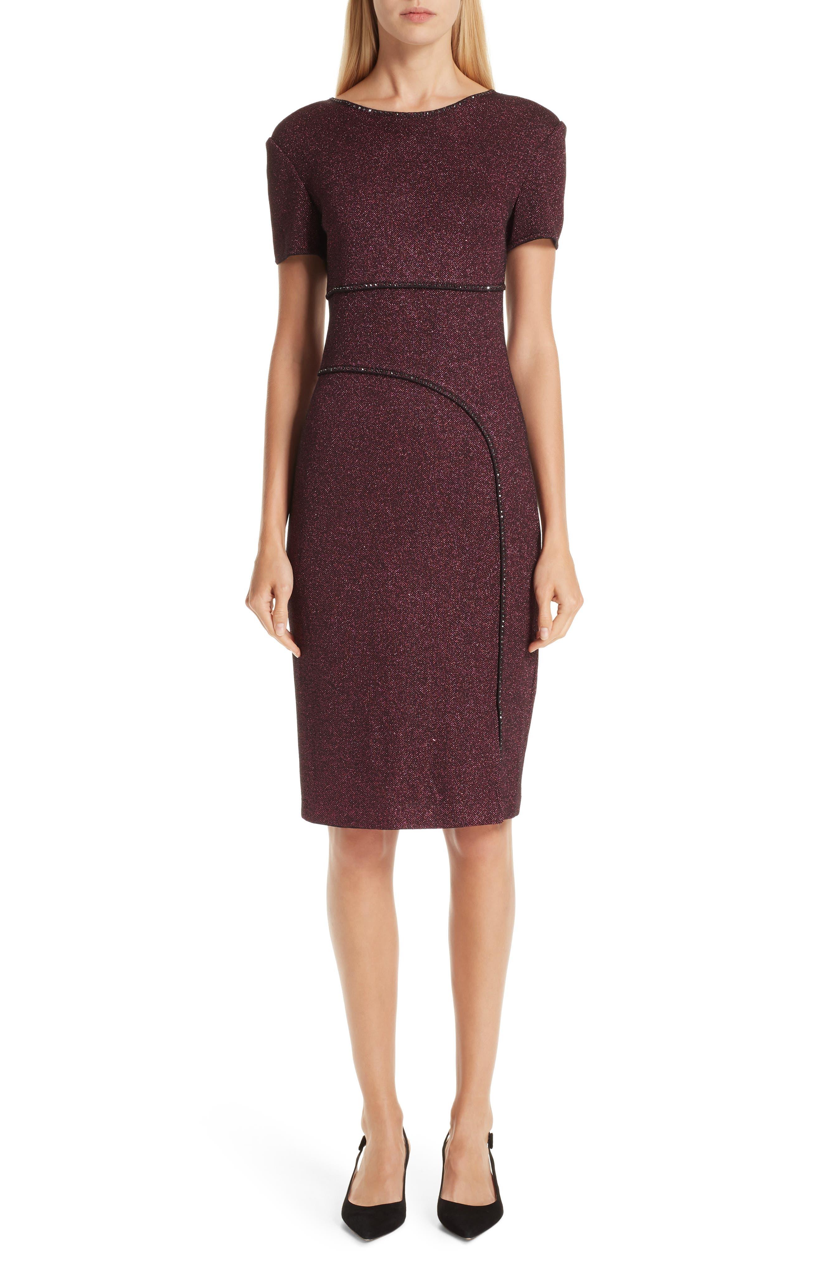 ST. JOHN COLLECTION, Mod Metallic Knit Sheath Dress, Main thumbnail 1, color, DARK PINK MULTI