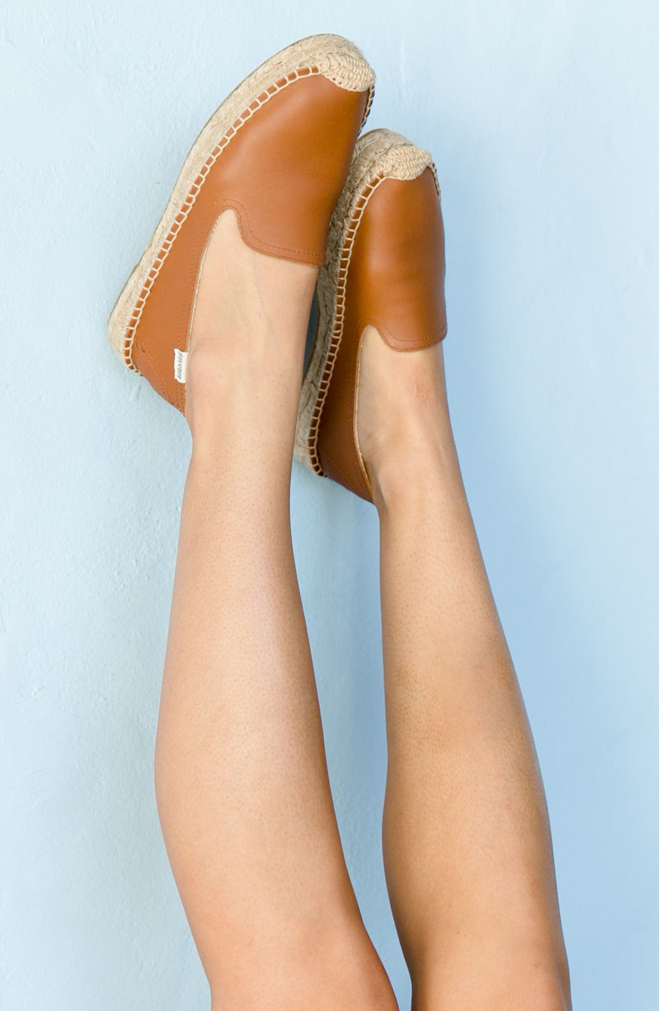 SOLUDOS, 'Smoking' Espadrille Platform Shoe, Alternate thumbnail 7, color, TAN LEATHER