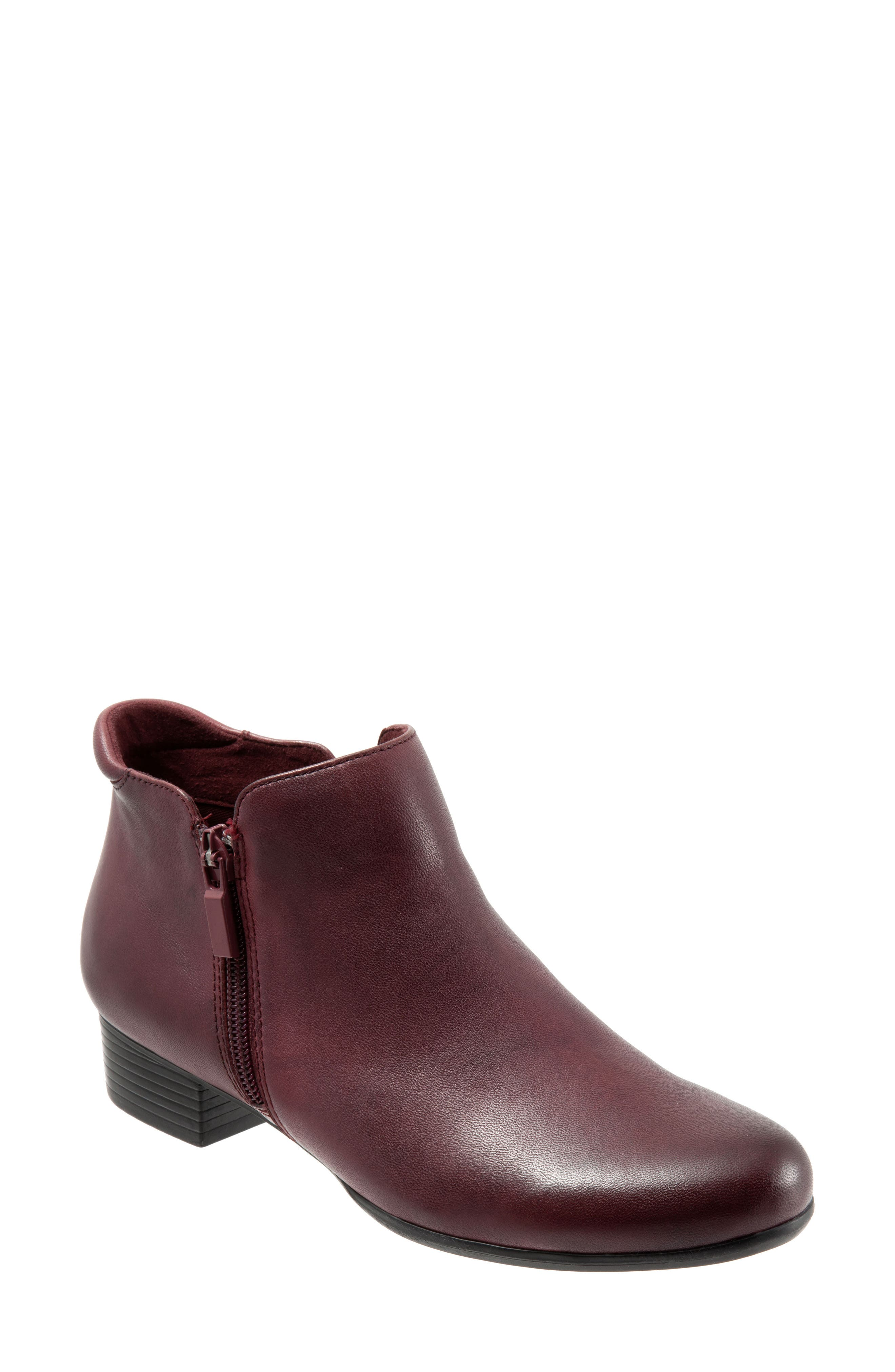 TROTTERS, Major Bootie, Main thumbnail 1, color, DARK RED LEATHER