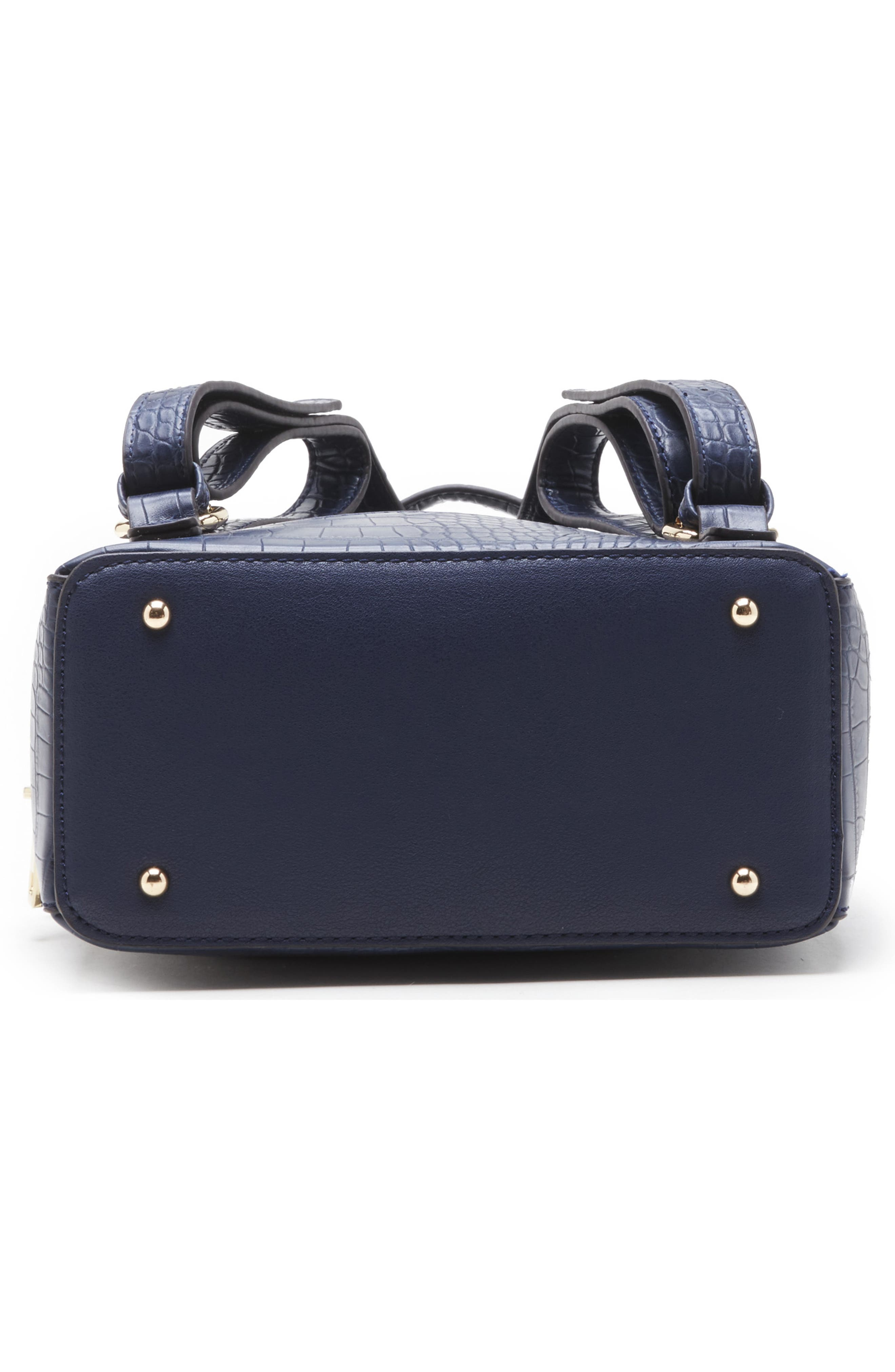 SOLE SOCIETY, Jamya Croc Embossed Faux Leather Backpack, Alternate thumbnail 6, color, MIDNIGHT