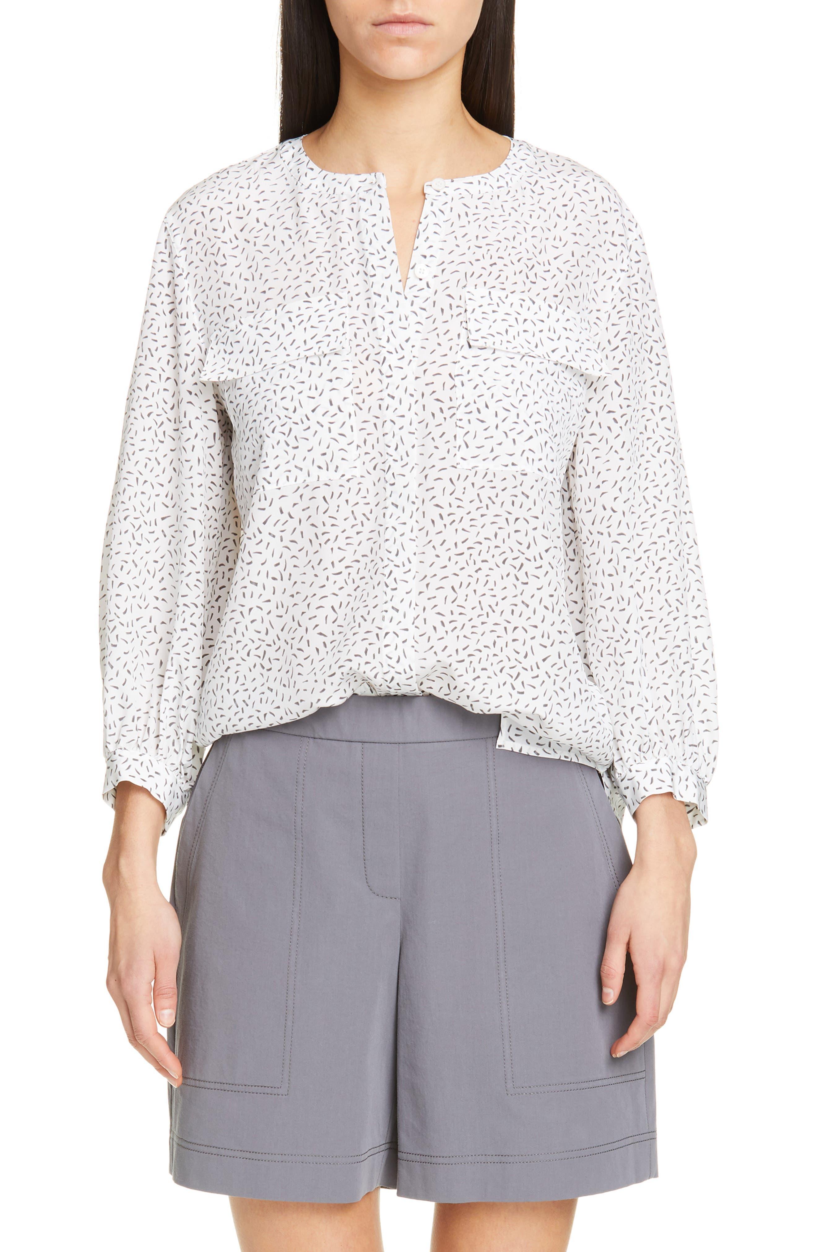 LAFAYETTE 148 NEW YORK Liberty Silk Blouse, Main, color, WHITE MULTI