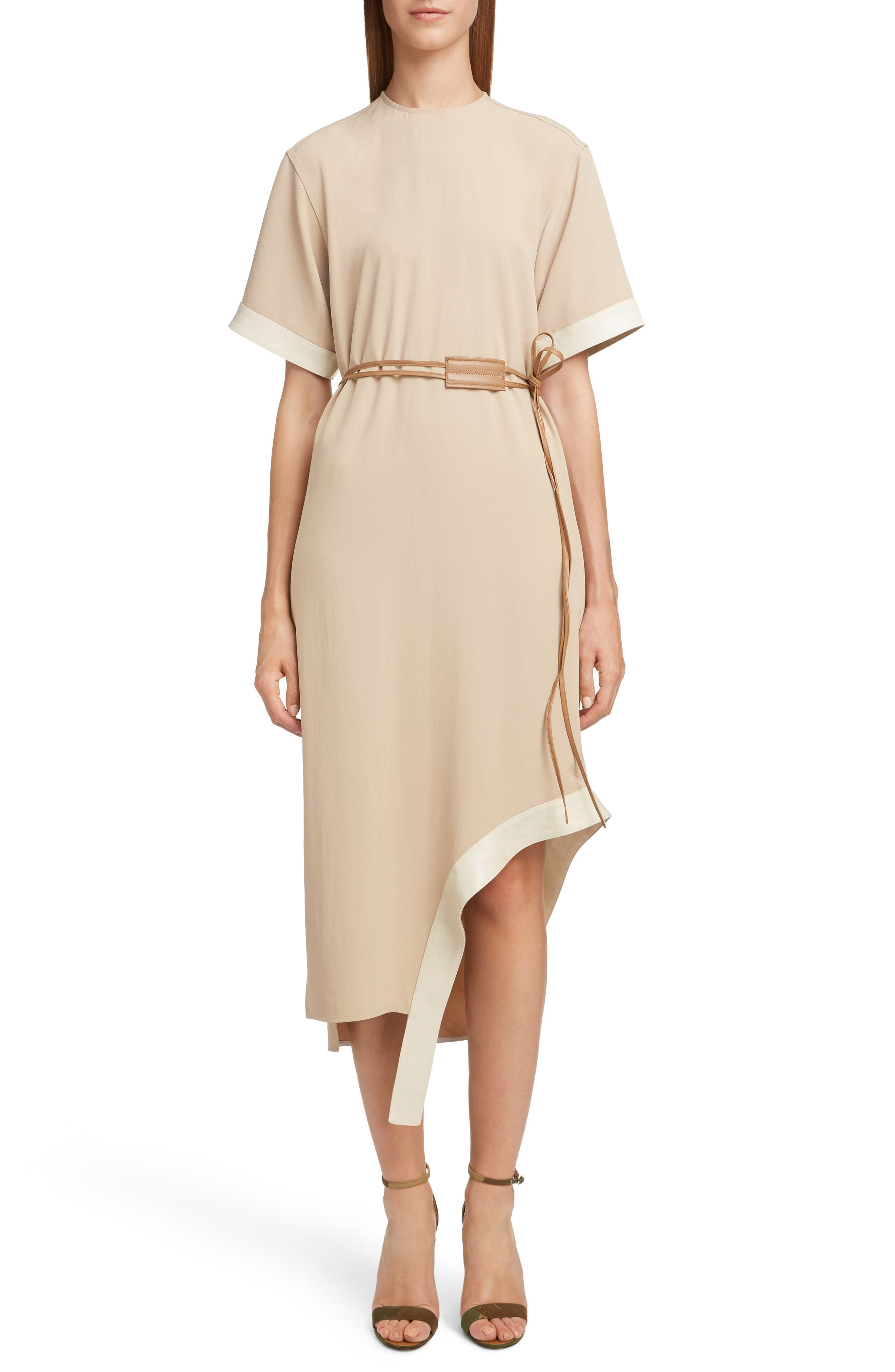 VICTORIA BECKHAM, Leather Belt Asymmetrical Dress, Main thumbnail 1, color, BEIGE/ CAMEL
