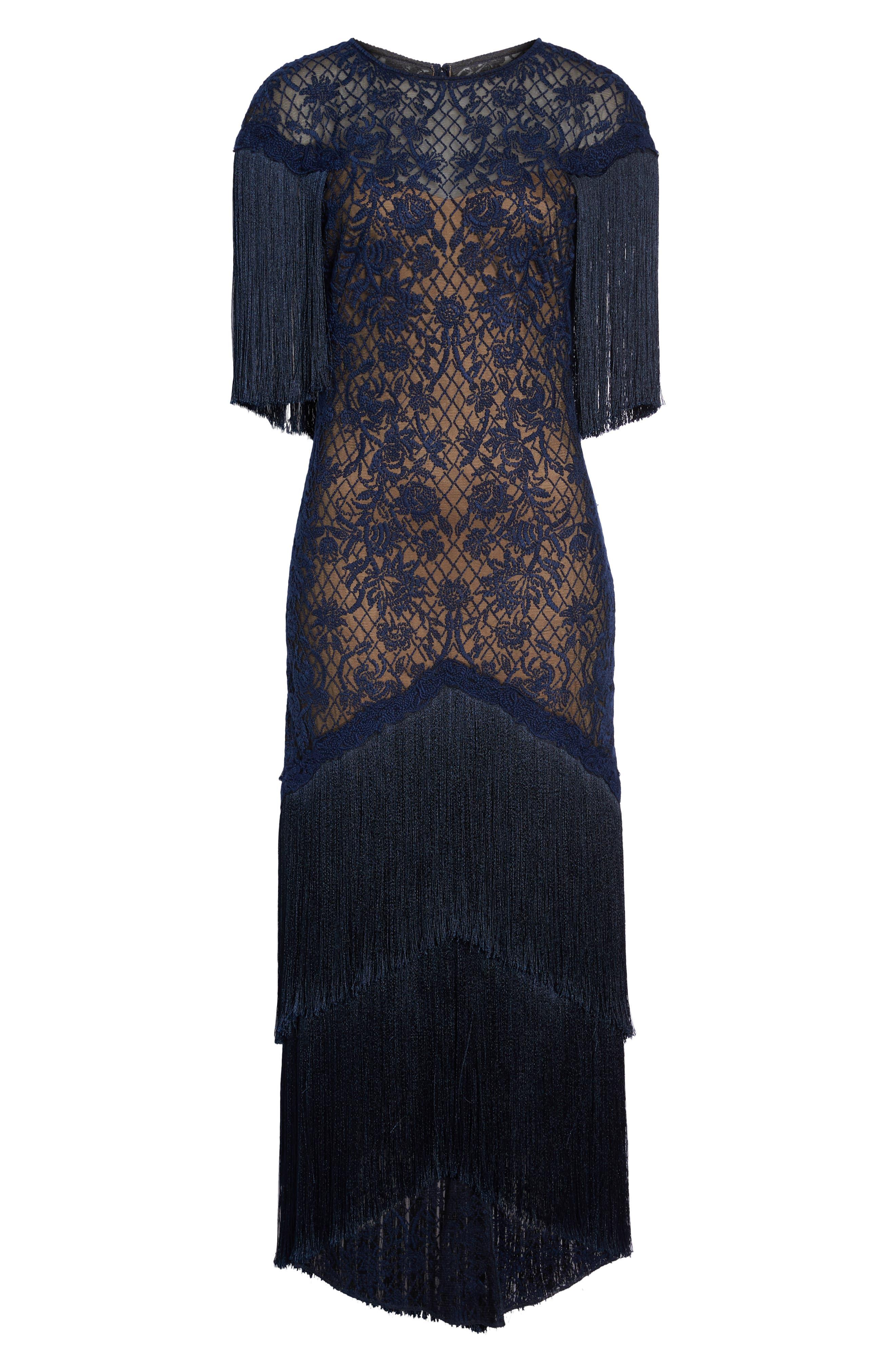 TADASHI SHOJI, Embroidered Mesh & Fringe Gown, Alternate thumbnail 6, color, MIDNIGHT/ NUDE