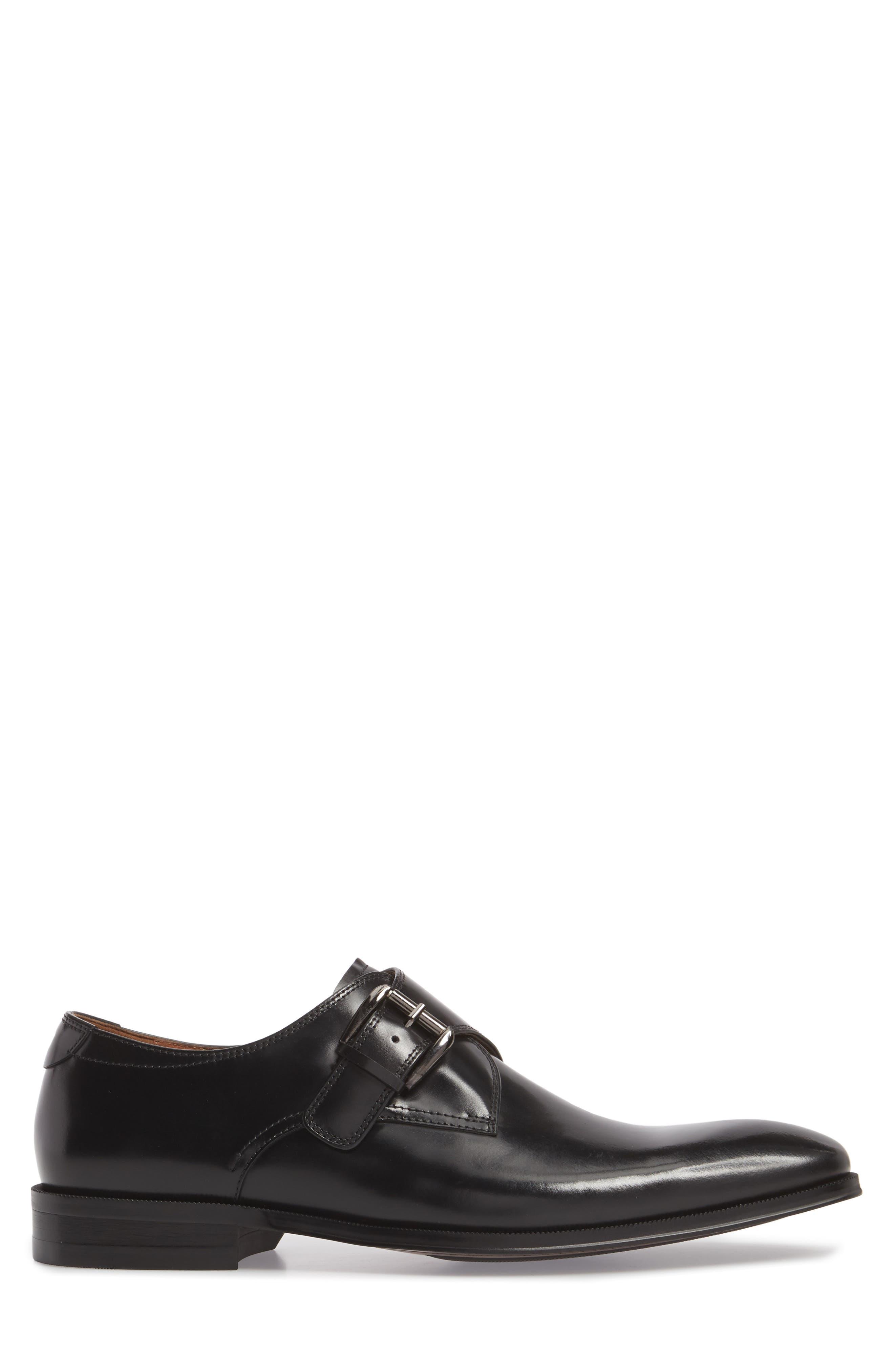 FLORSHEIM, Belfast Single Strap Monk Shoe, Alternate thumbnail 3, color, BLACK LEATHER