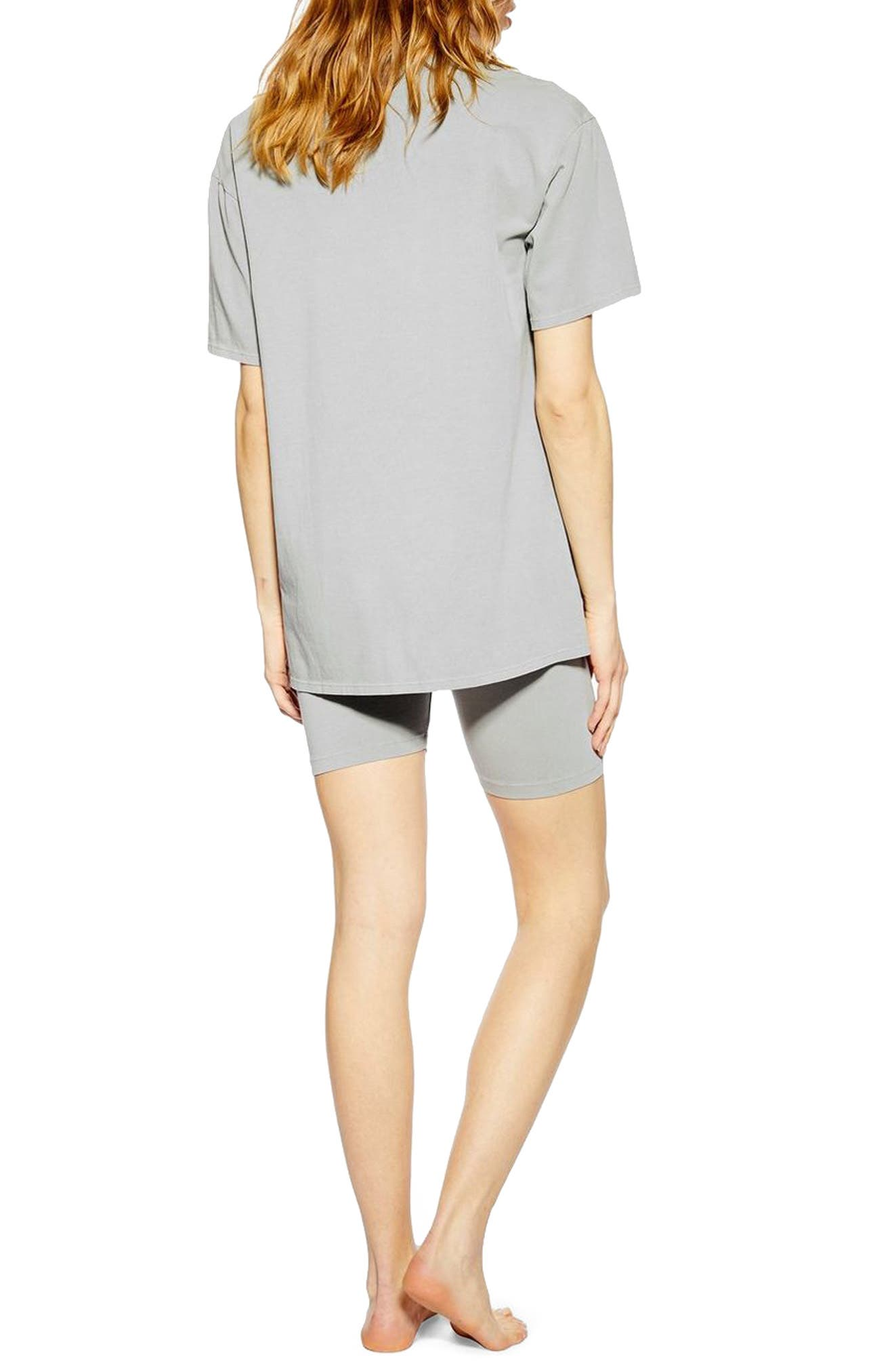 TOPSHOP, Washed Cycle Loungewear Set, Alternate thumbnail 2, color, STONE