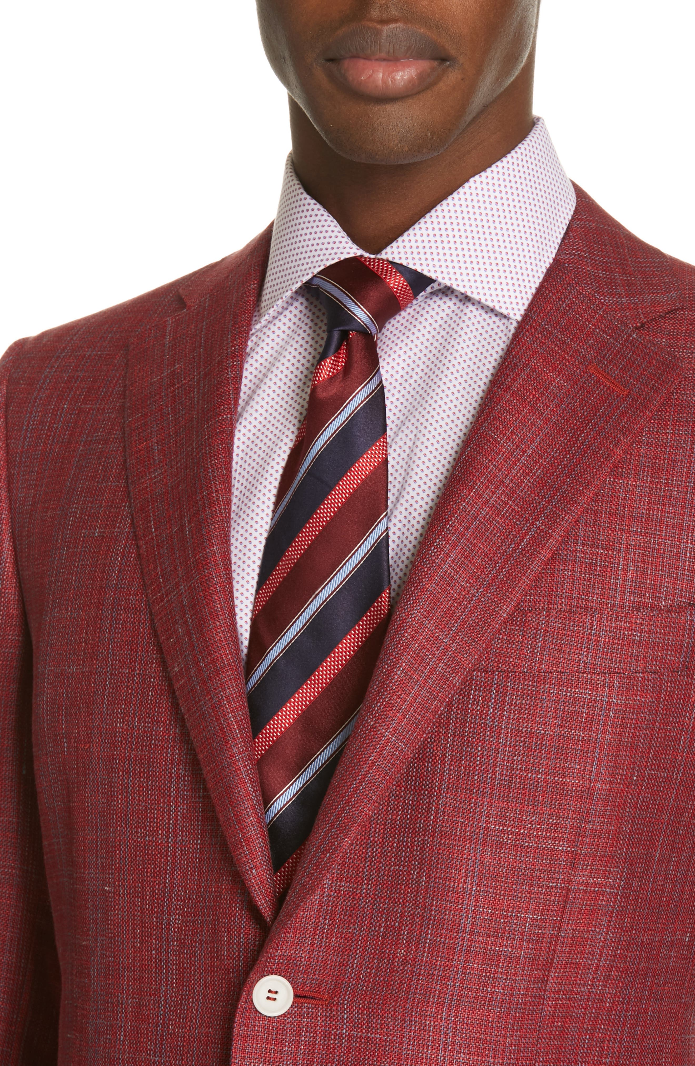 CANALI, Siena Classic Fit Wool, Silk & Linen Blend Sport Coat, Alternate thumbnail 4, color, RED