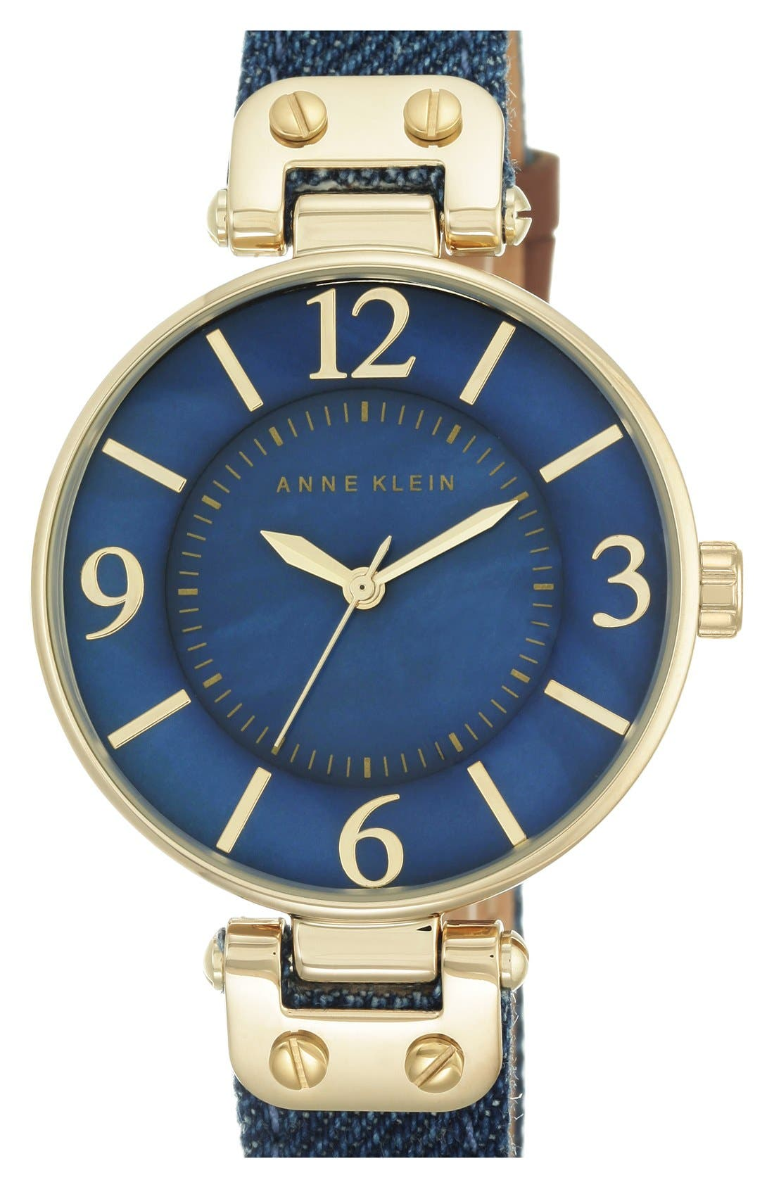 ANNE KLEIN, Denim Strap Watch, 34mm, Main thumbnail 1, color, 400
