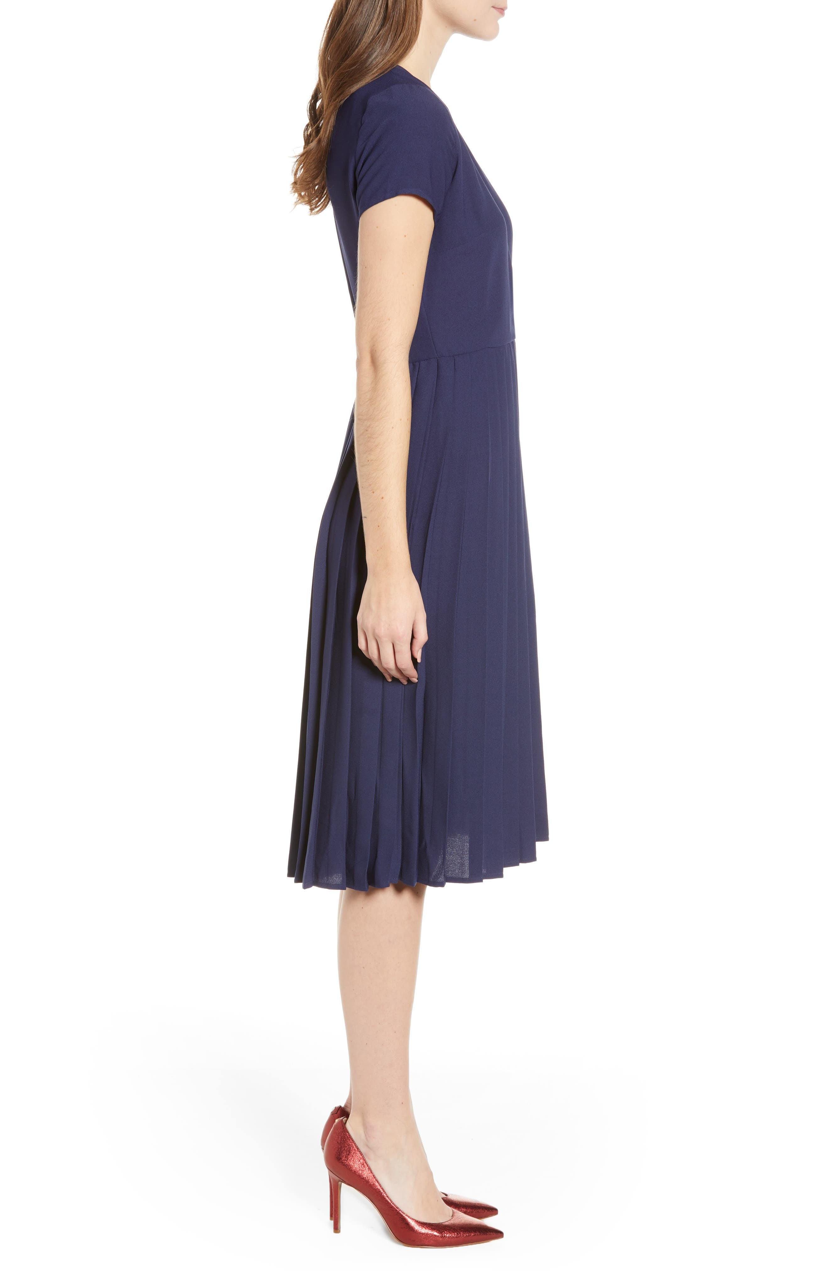 LEITH, Pleated Surplice Dress, Alternate thumbnail 5, color, NAVY PEACOAT