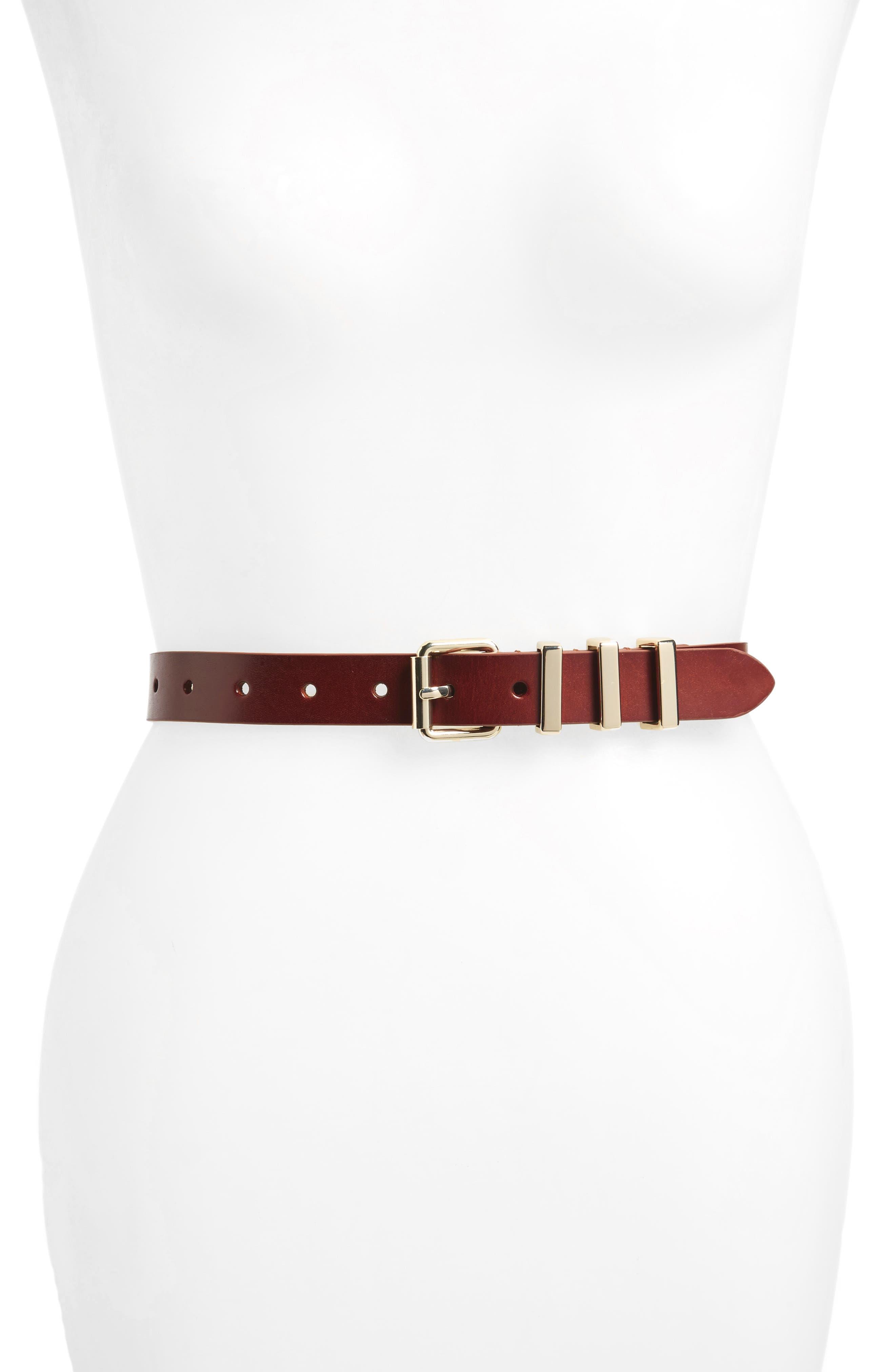 REBECCA MINKOFF Suzy Leather Belt, Main, color, LUGGAGE