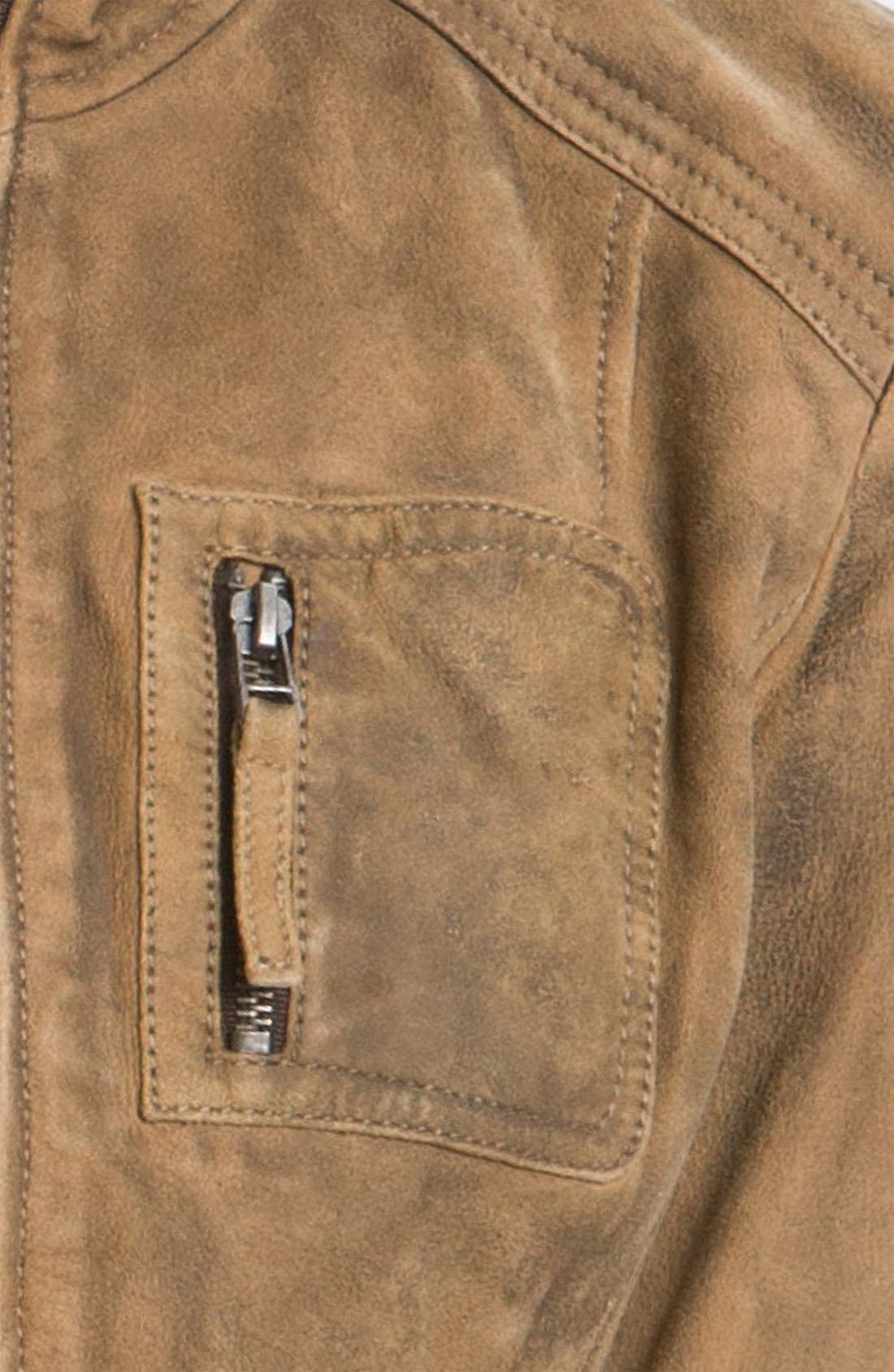 BUFFALO BY DAVID BITTON, Distressed Leather Jacket, Alternate thumbnail 3, color, 250