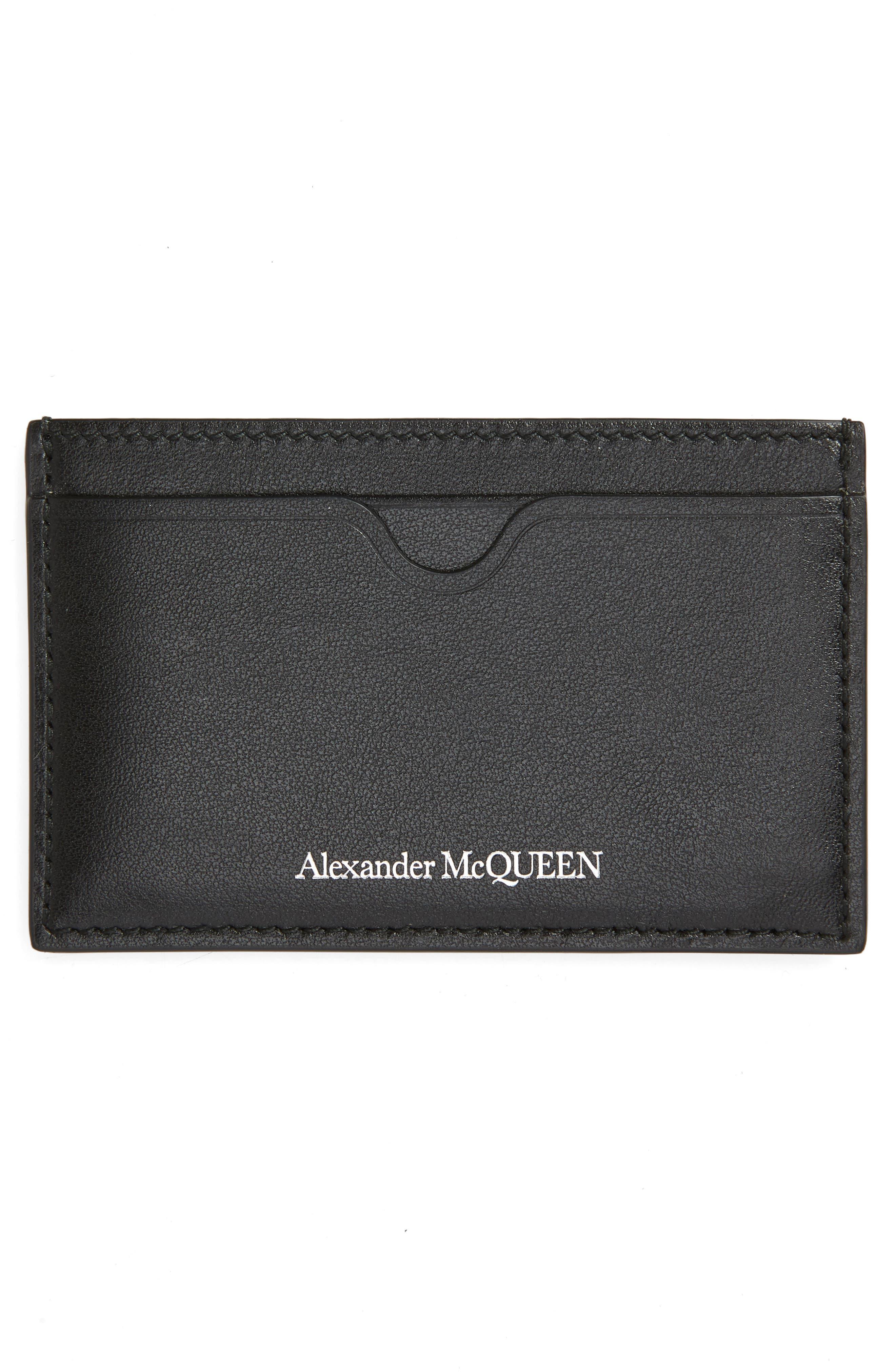 ALEXANDER MCQUEEN, Skull Leather Card Case, Alternate thumbnail 2, color, BLACK/ WHITE