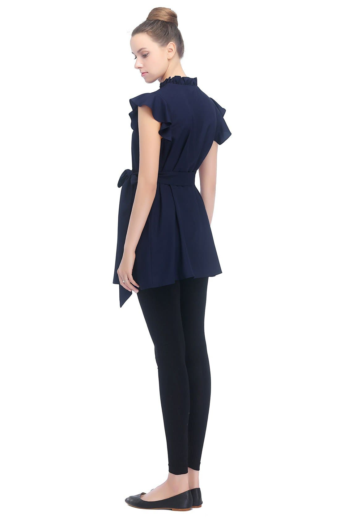 KIMI AND KAI, Karlena Flutter Sleeve Belted Maternity Top, Alternate thumbnail 3, color, NAVY