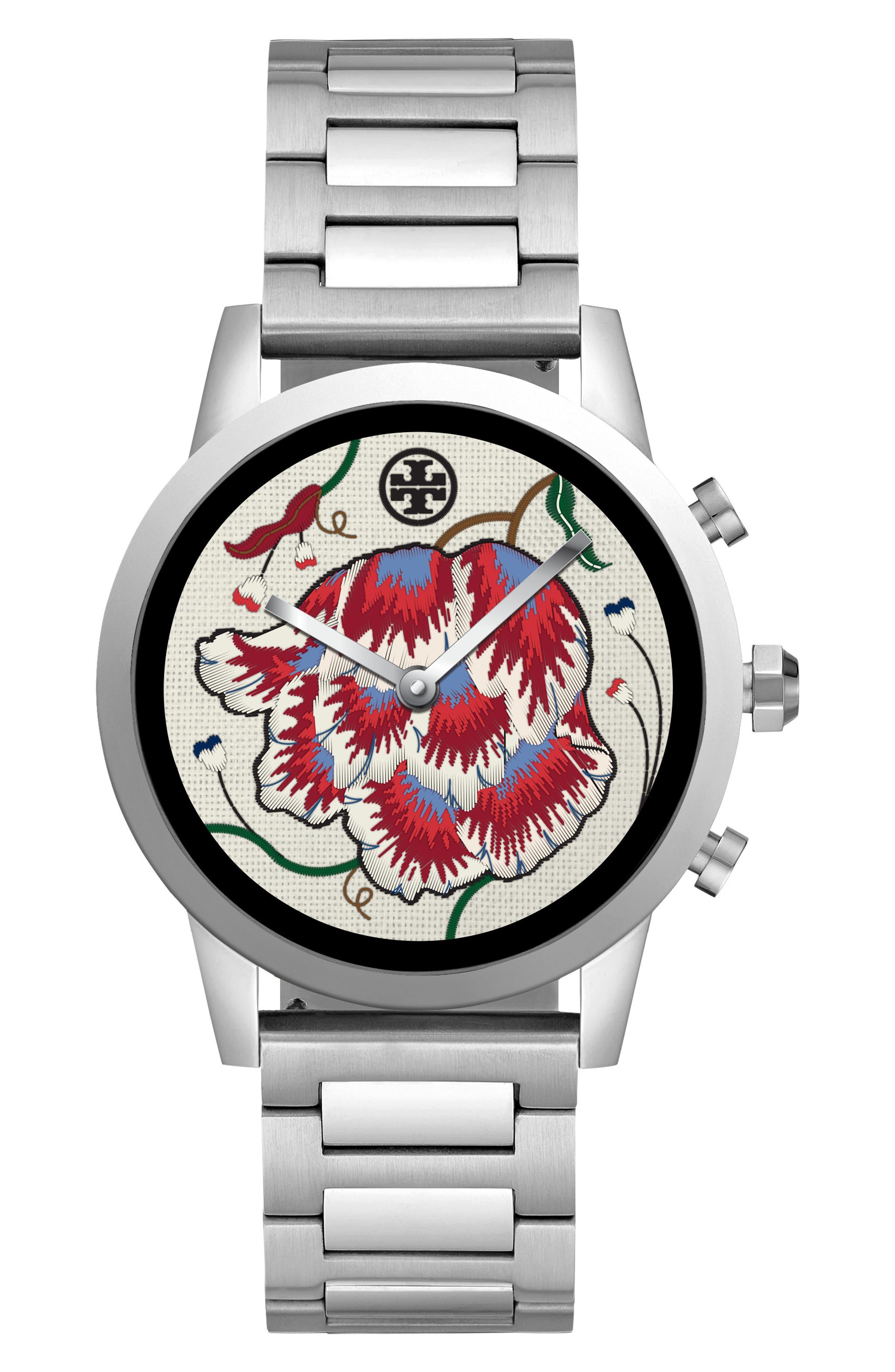 TORY BURCH, ToryTrack Gigi Touchscreen Smart Watch, 40mm, Alternate thumbnail 5, color, SILVER