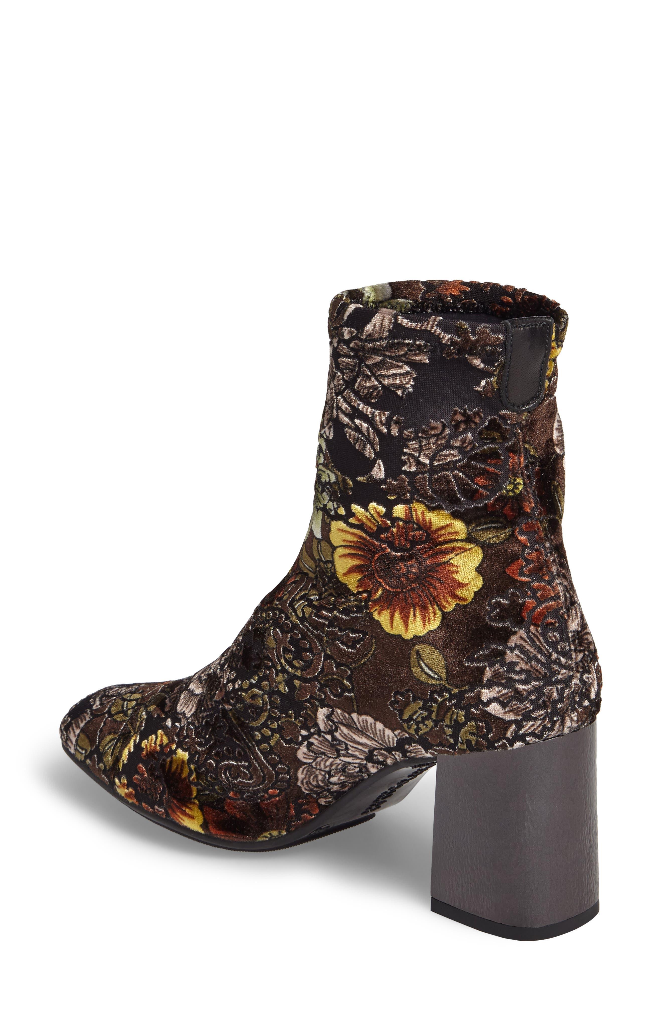 HISPANITAS, Portia Floral Stretch Velvet Bootie, Alternate thumbnail 2, color, CARAVAGGIO FABRIC