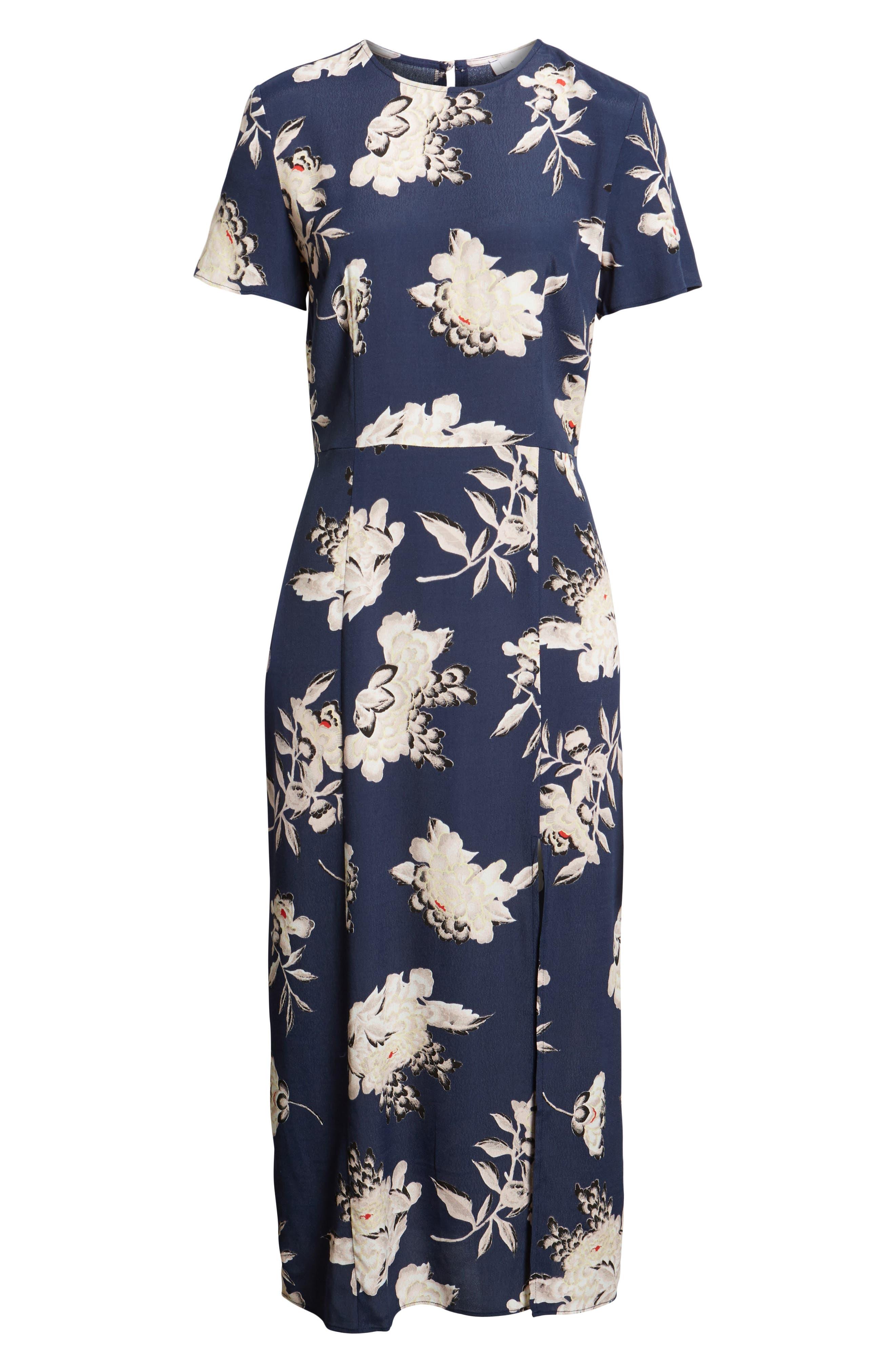 LEITH, Print Midi Dress, Alternate thumbnail 7, color, NAVY PEACOAT KIMONO FLORAL