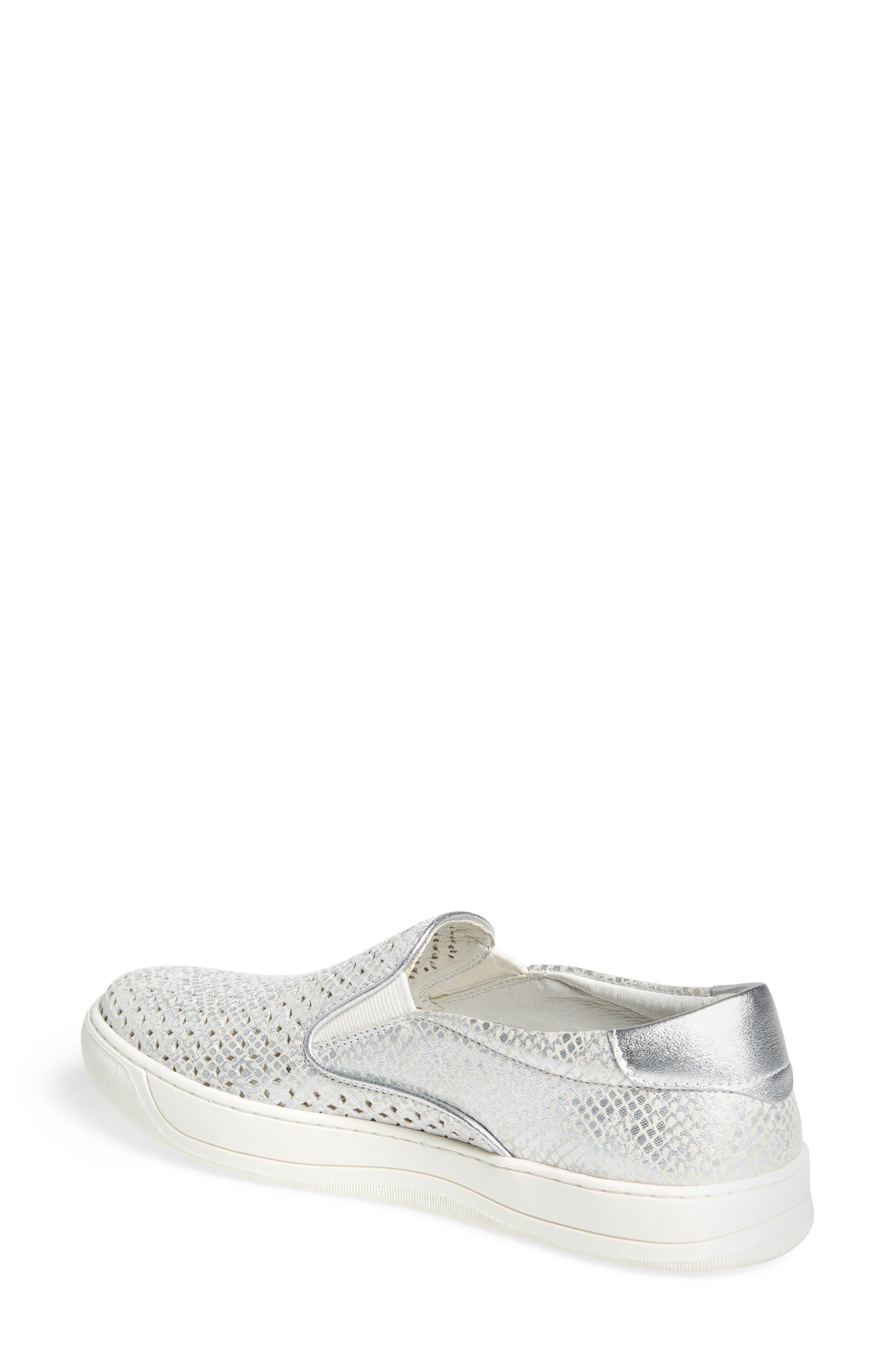 JOHNSTON & MURPHY, Elaine Slip-On Sneaker, Alternate thumbnail 2, color, SILVER SNAKE PRINT LEATHER