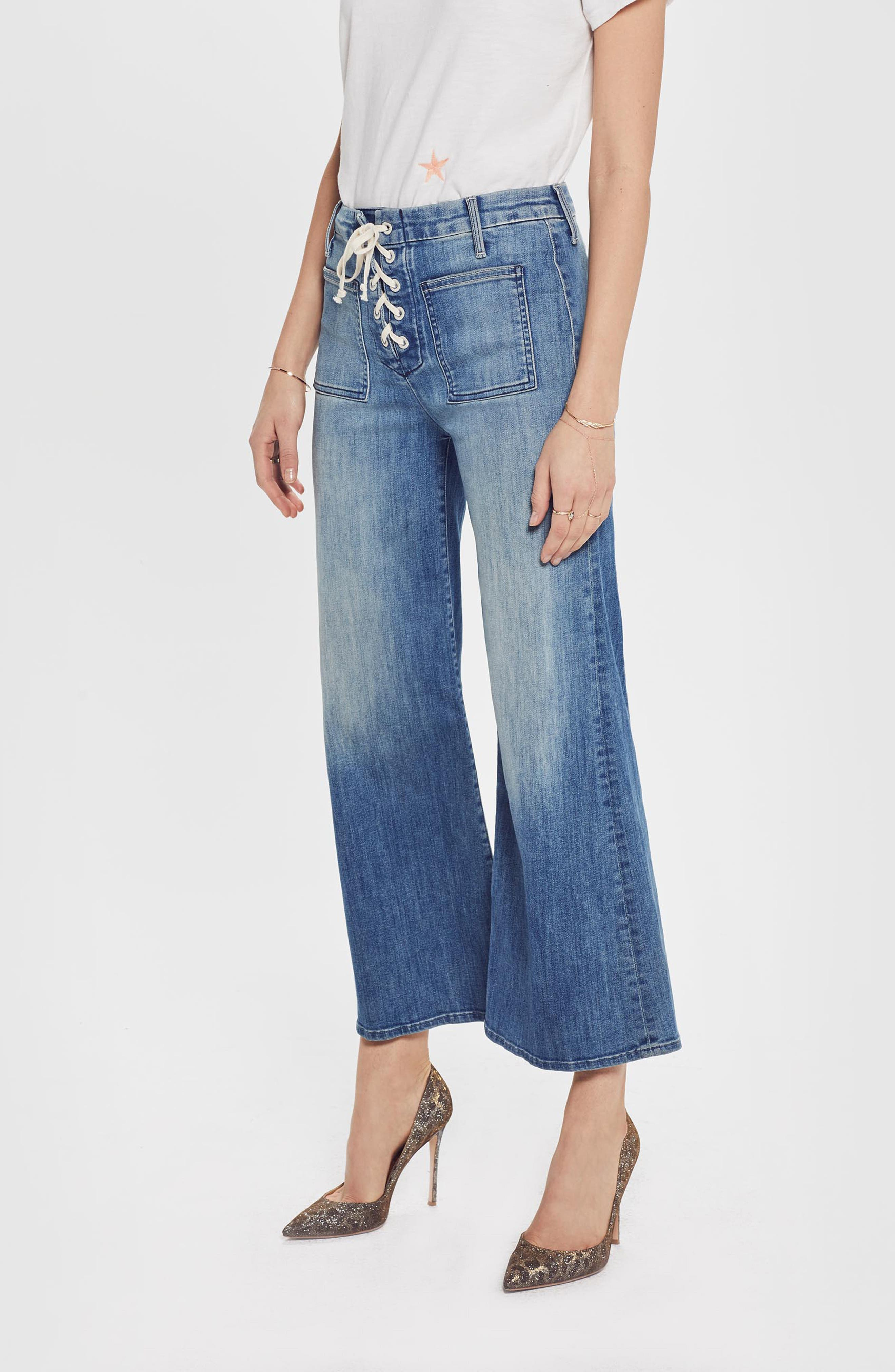 MOTHER, The Lace Up Crop Flare Jeans, Alternate thumbnail 4, color, WHERE THERES SMOKE