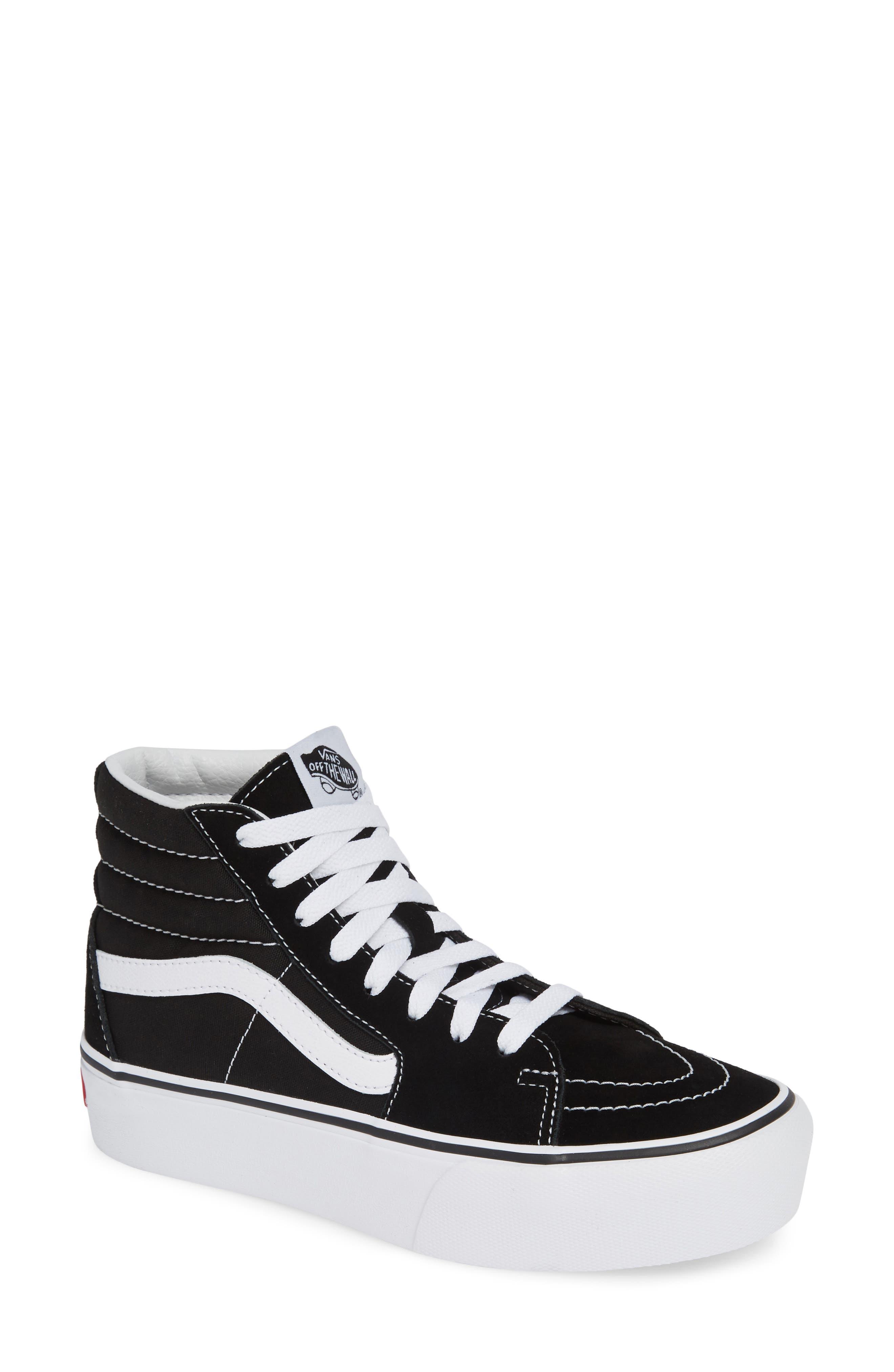 VANS, Sk8-Hi Platform Sneaker, Main thumbnail 1, color, BLACK/ TRUE WHITE