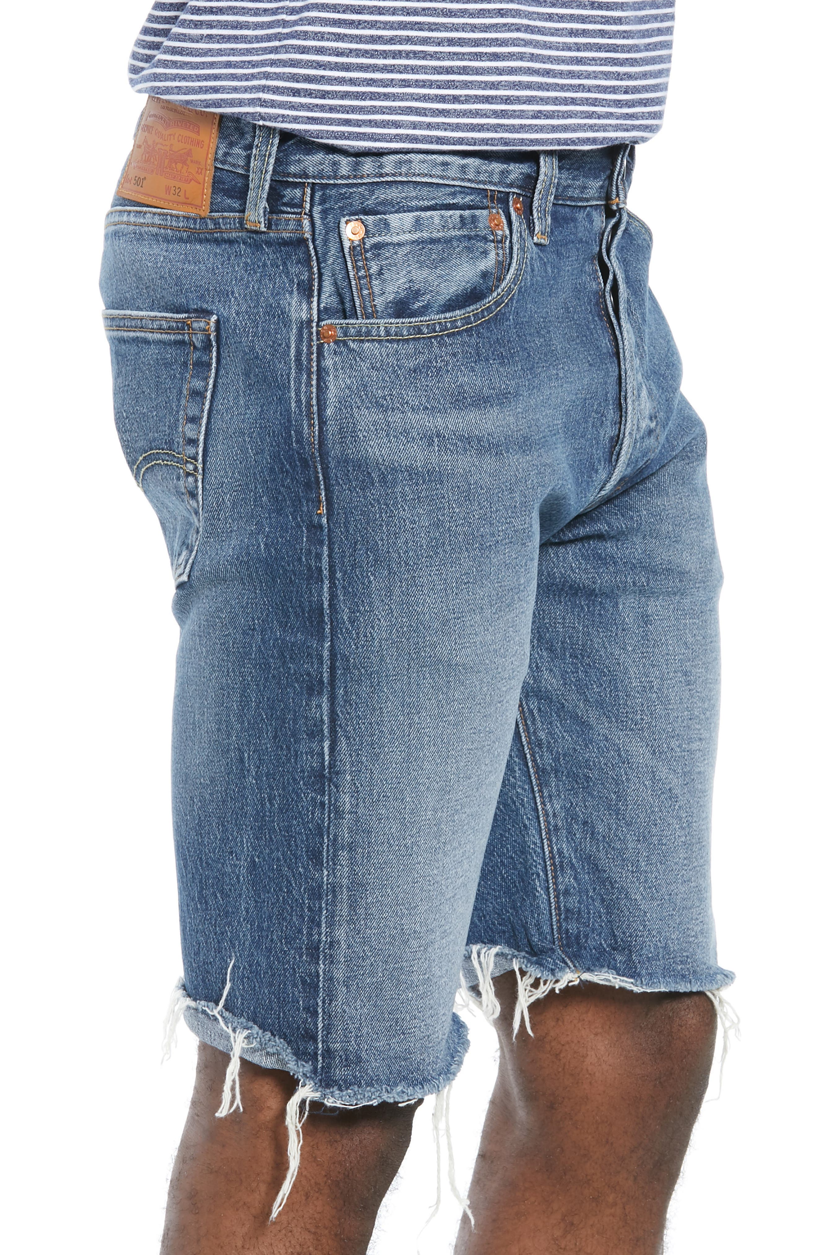 LEVI'S<SUP>®</SUP>, 501<sup>®</sup> CT Denim Shorts, Alternate thumbnail 3, color, RED HOTS