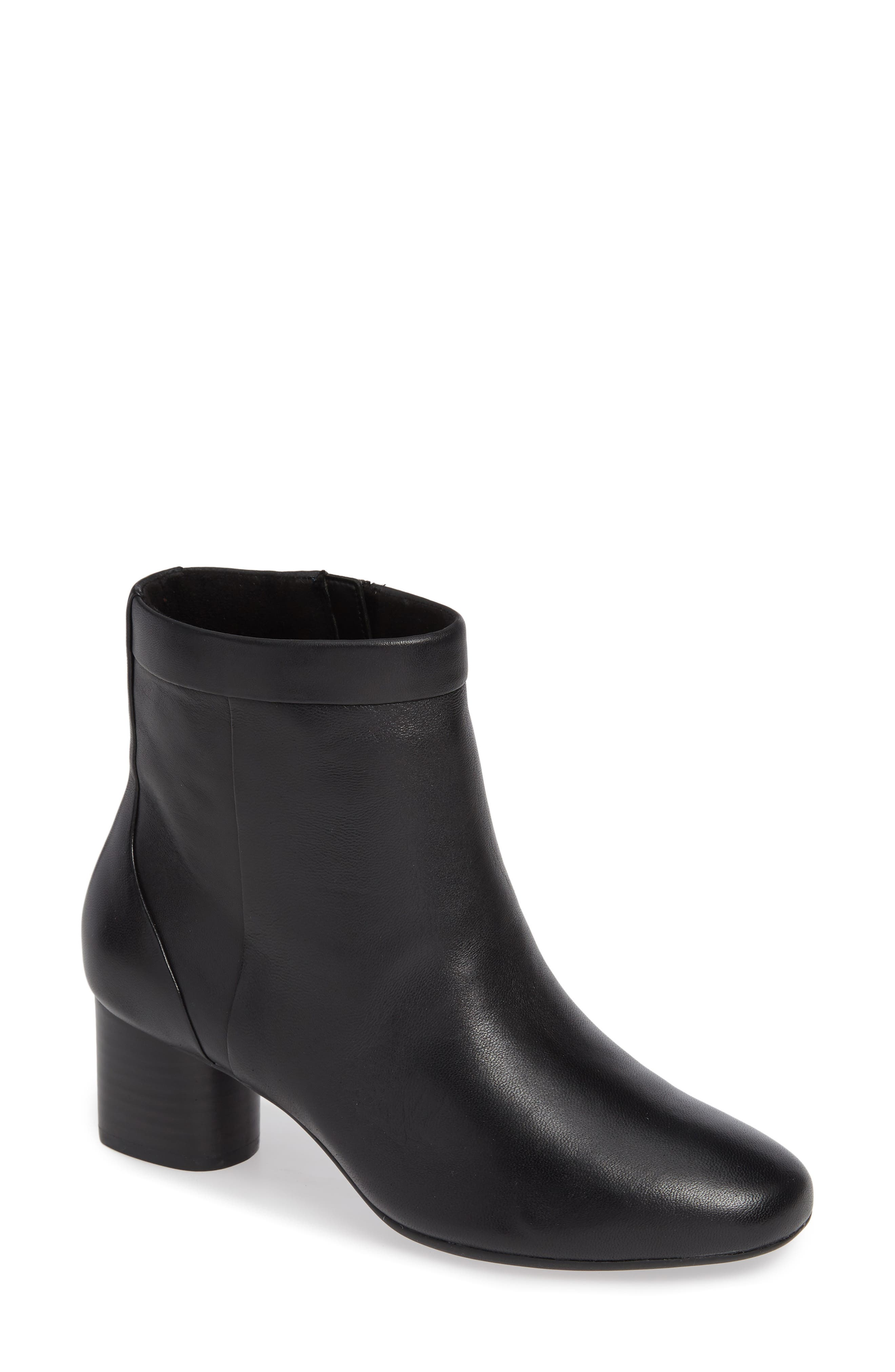 CLARKS<SUP>®</SUP>, Un Cosmo Up Bootie, Main thumbnail 1, color, BLACK LEATHER
